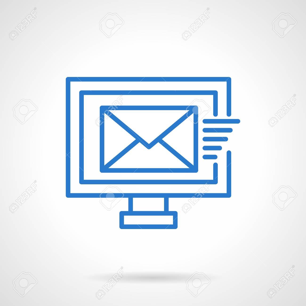 8bf3439c48209 Enviando correo electrónico Marketing y e-business. Icono de vector simple  línea azul. Elemento de diseño web único para negocios