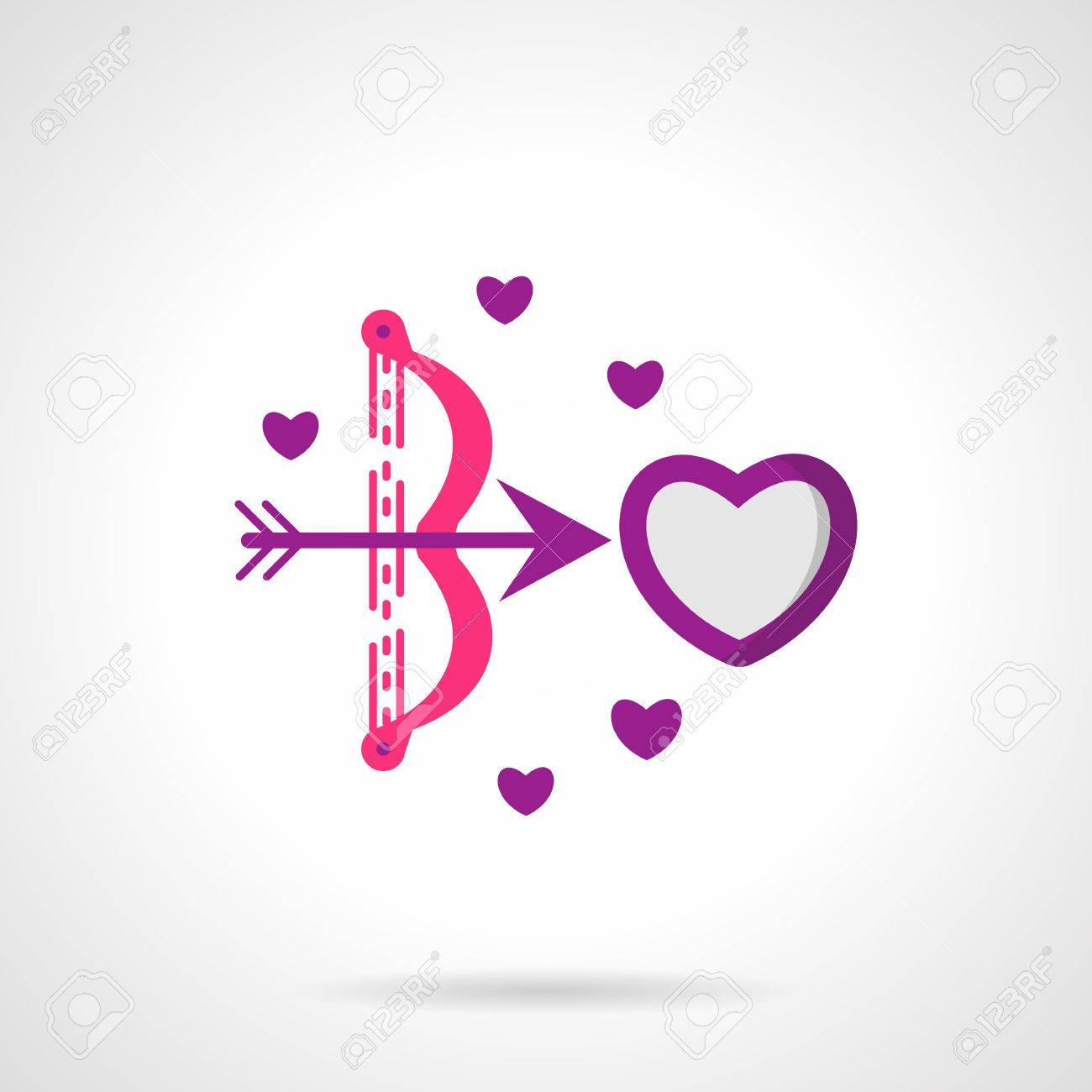 Amour Arco Con Flecha Rodaje De Corazón Caída En El Símbolo Del Amor Serie Del Día De San Valentín Rosa Brillante Y Púrpura Del Vector Icono Plana