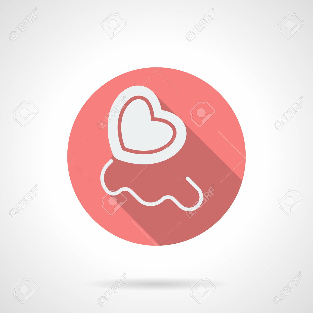 White Silhouette Heart Balloon With Rope. Love Party Decoration, Romantic  Gift. Round Pink