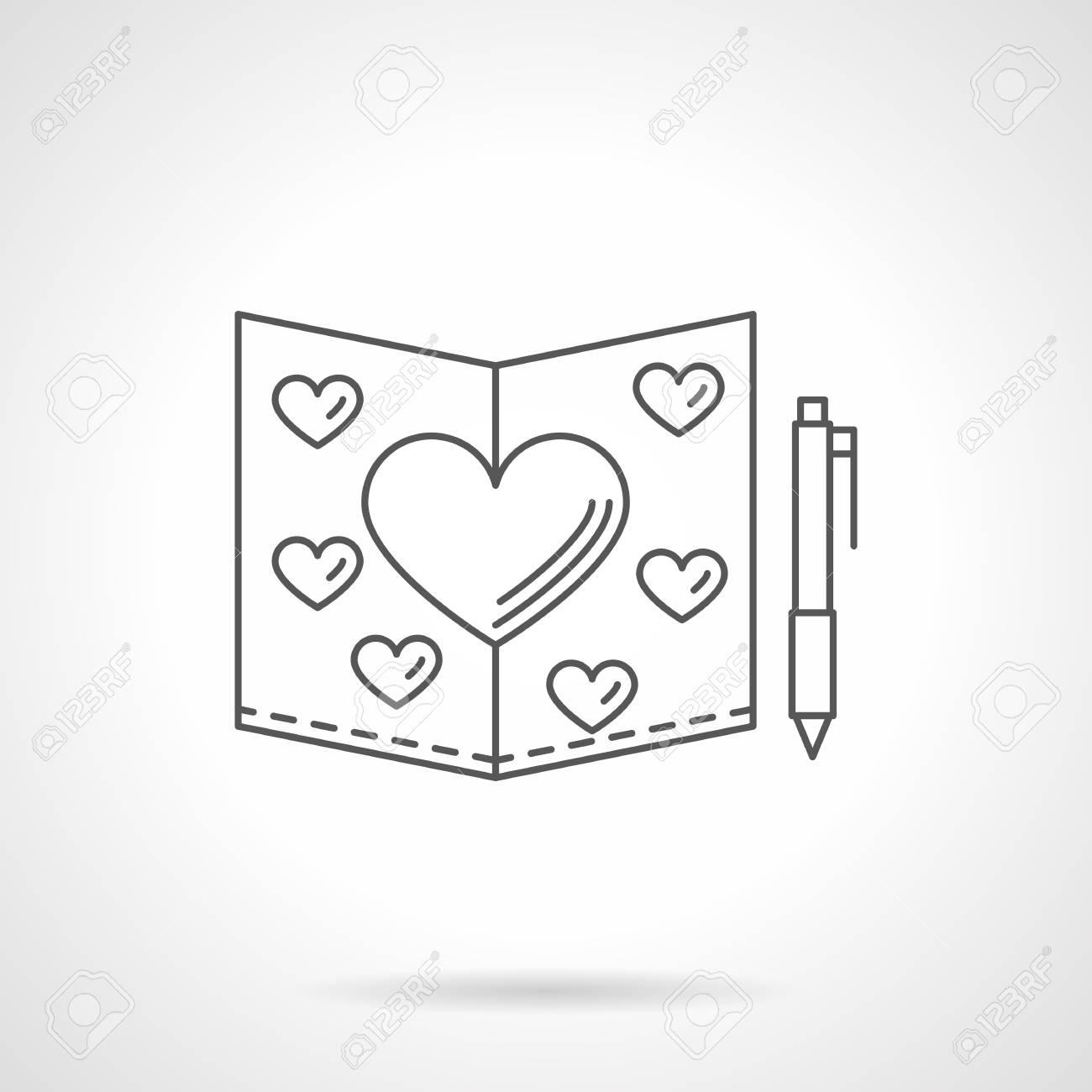 Carte De Voeux Avec Des Coeurs Et Stylo Amour Souhaits Déclaration Damour Invitation De Mariage Thème Saint Valentin Vector Icône De Style Plat