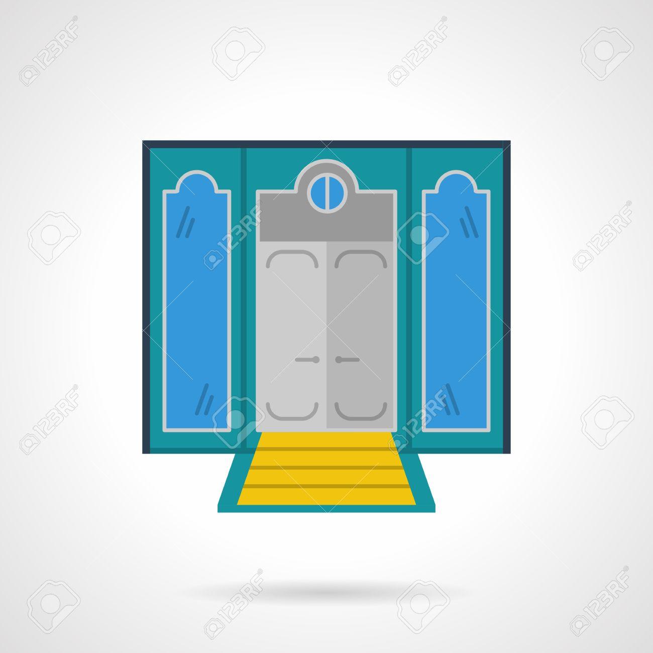 Fasaden på hotellet med dörrar och gula trappor. symmetri två ...