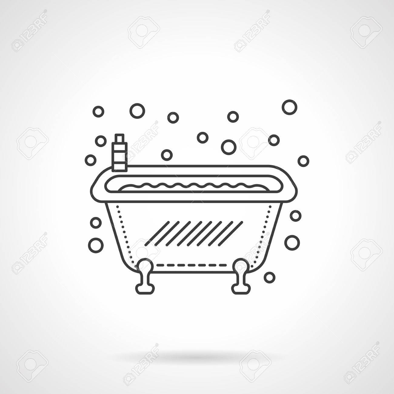 Classic Bathtub With Bubbles And Soap Bottle. Bathroom Accessories ...