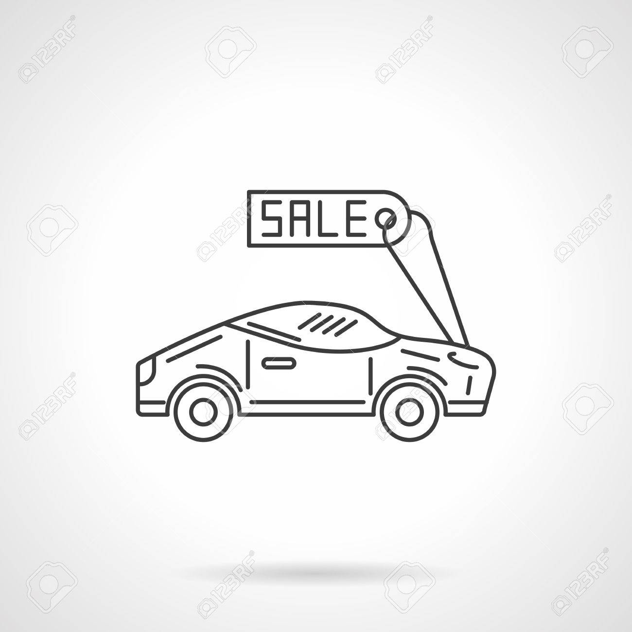 Sport sedan car with sale tag  Selling of new and used cars