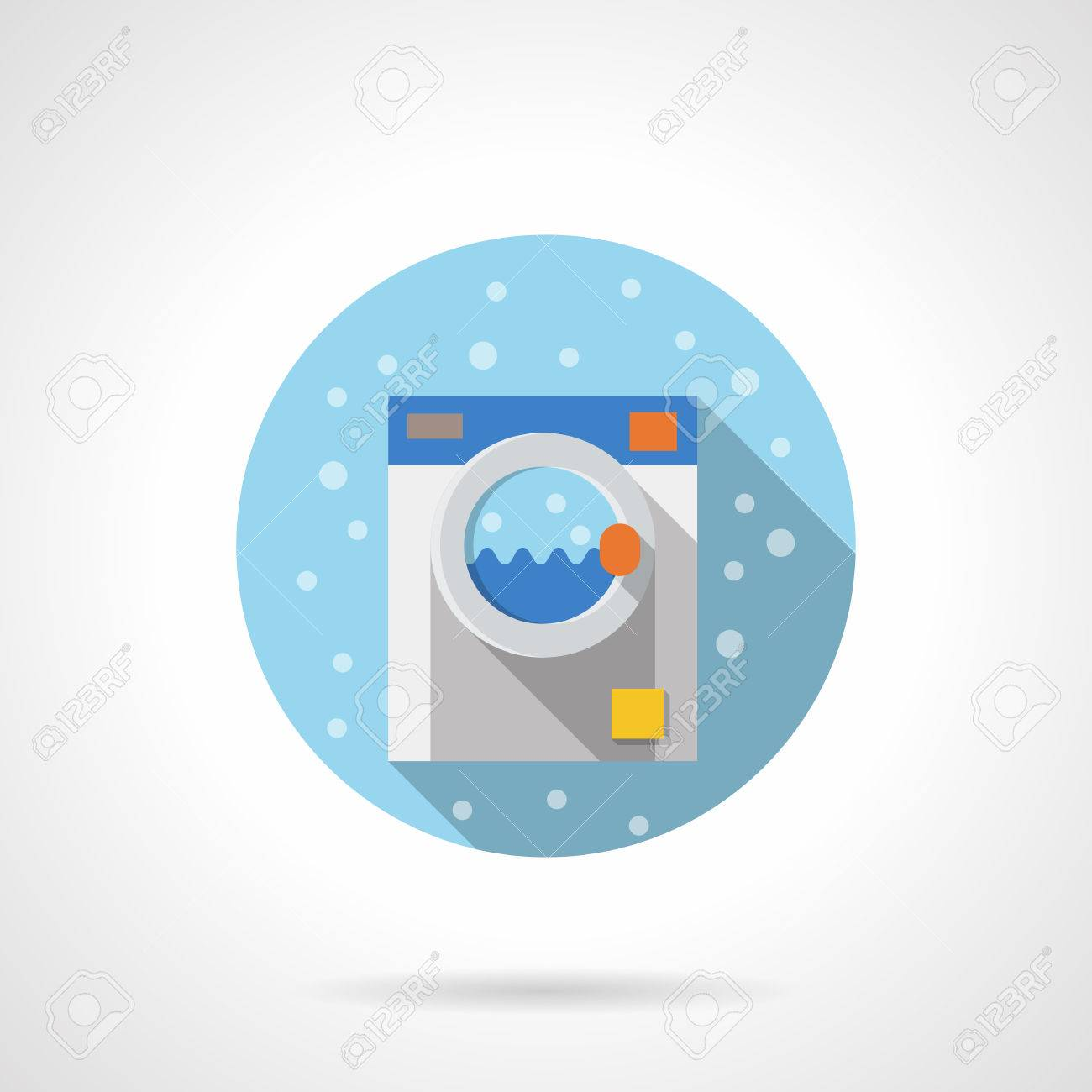 Laundry And Bathroom Equipment. Household Appliances. Bubbles Style. Flat