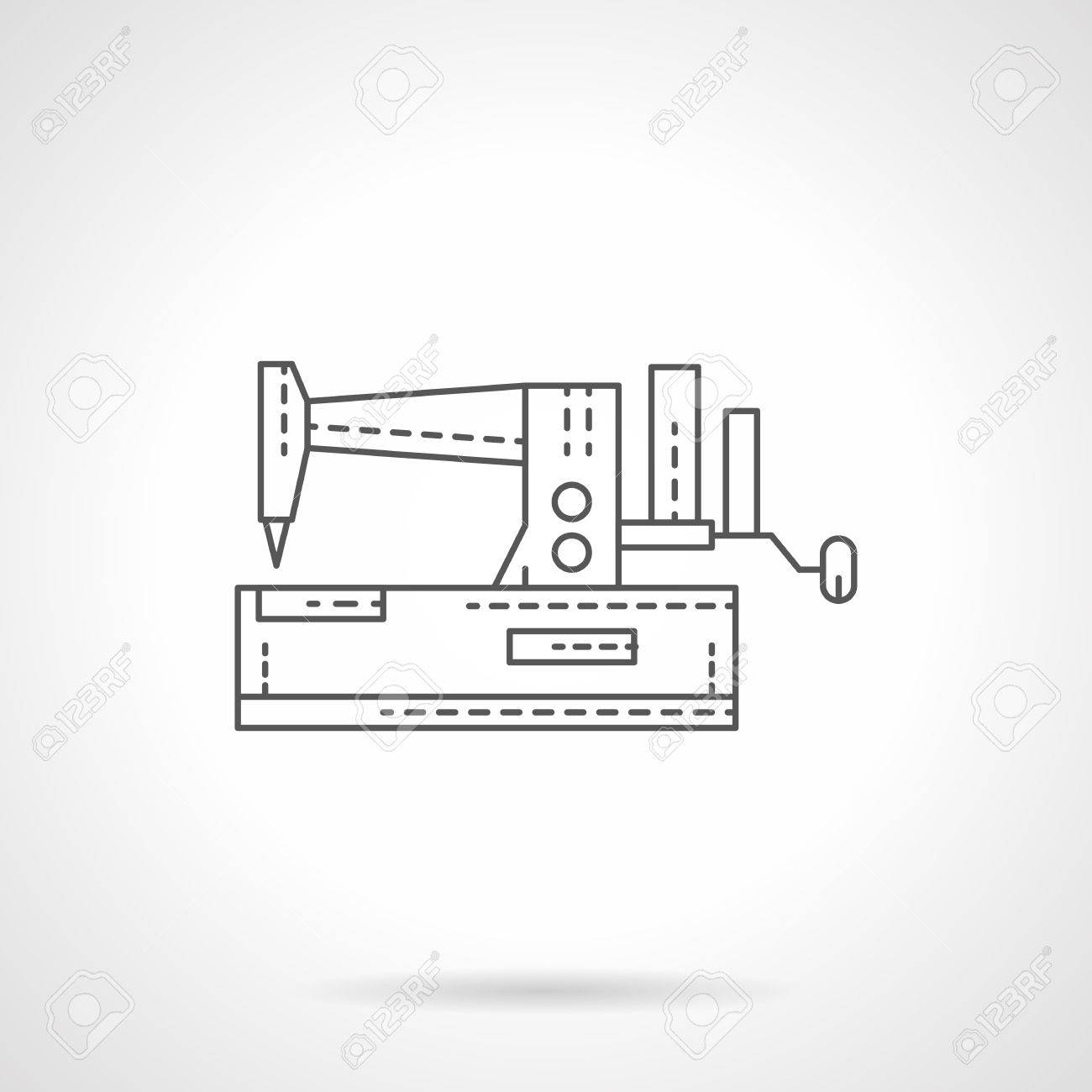 Manual sewing machine. Single flat thin line style vector icon. Element