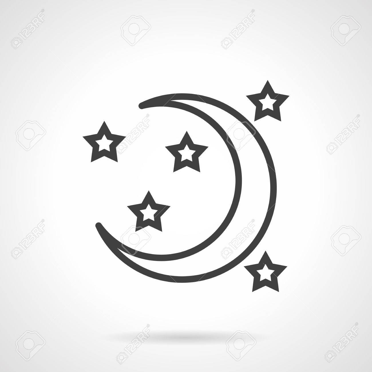 Crescent Or A New Moon And Stars Symbol Of Night And Time For Sleep