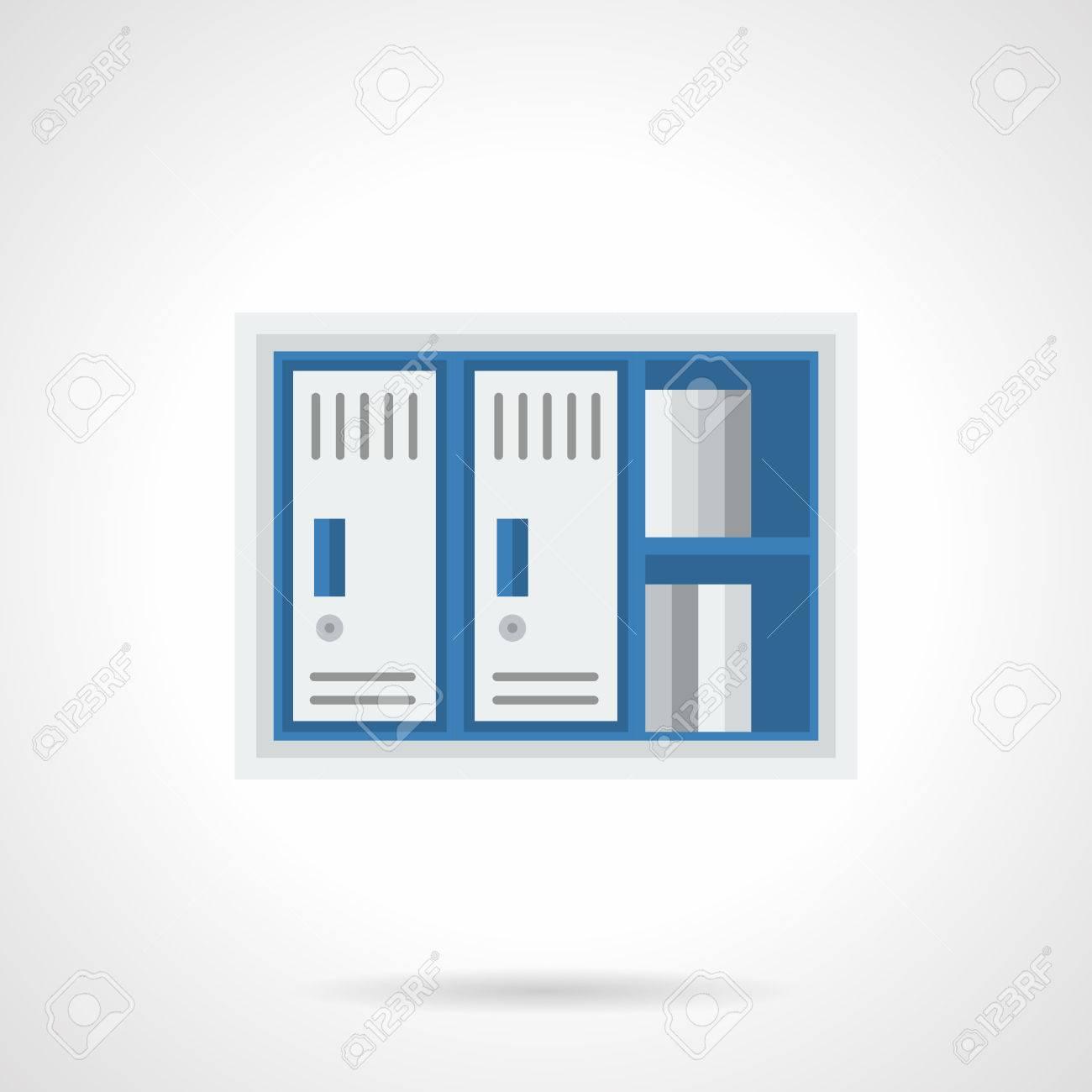 Blaue Und Graue Schrank Mit Regal Und Zwei Schranke Mobel Und