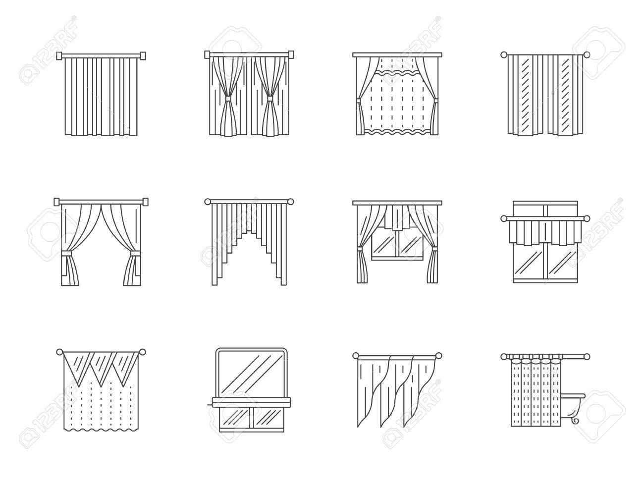 Verschiedene Vorhänge Und Jalousien Für Inter-Design. Wohnzimmer ...