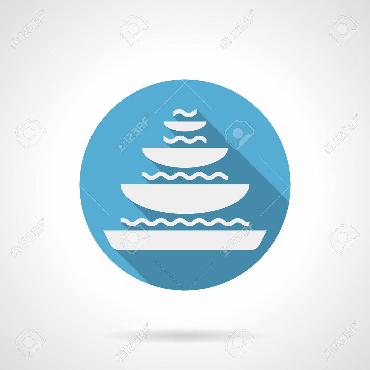 White Silhouette Sign Of Tiered Fountain With Bowls And Water Stone Decoration Fountains For