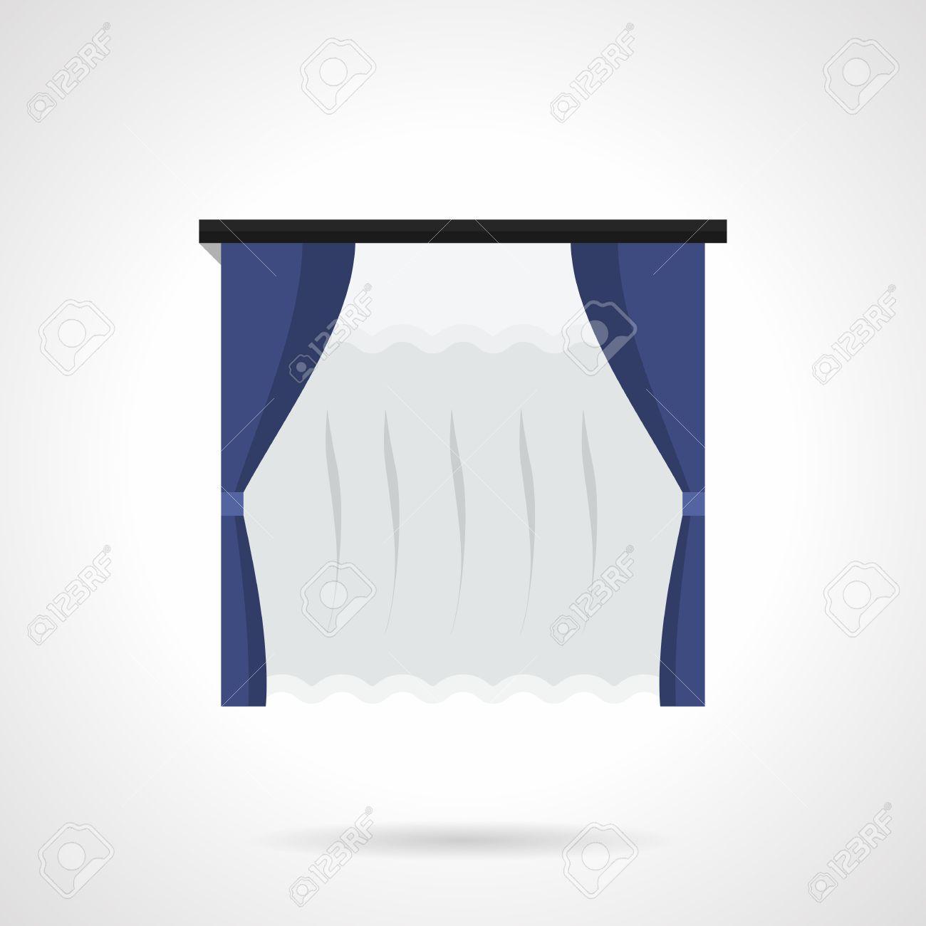 Hanging Rideaux Bleus Avec Tulle Tissus Pour Fenetre Decor