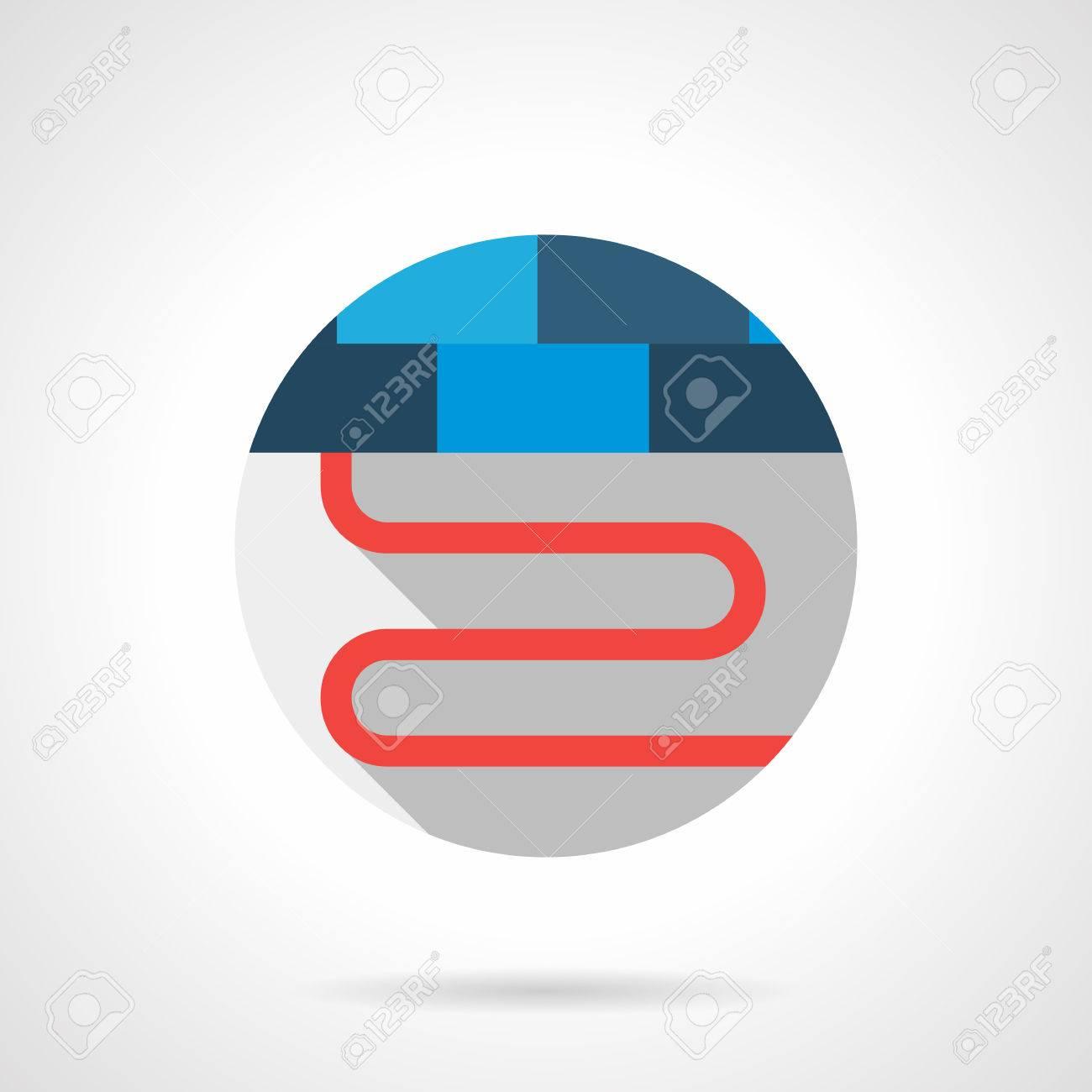 Cordón Rojo O El Tubo Del Sistema De Calefacción Por Suelo Radiante ...