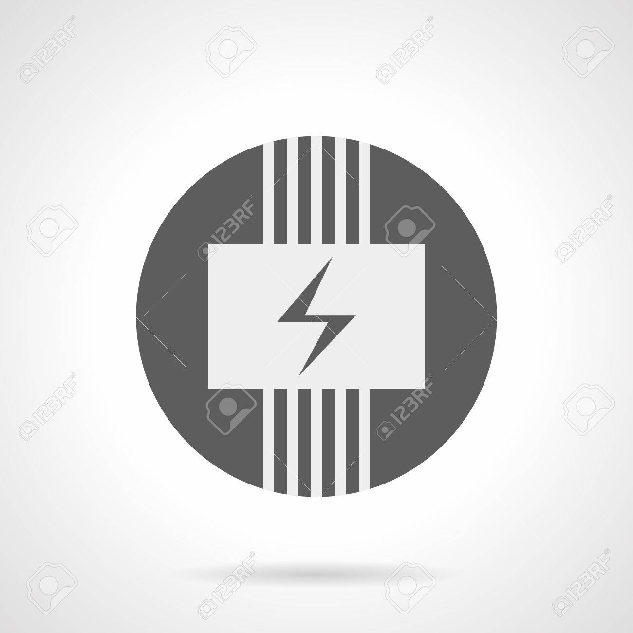 abstract white silhouette sign of electric wiring system panel Gift Icon Flat