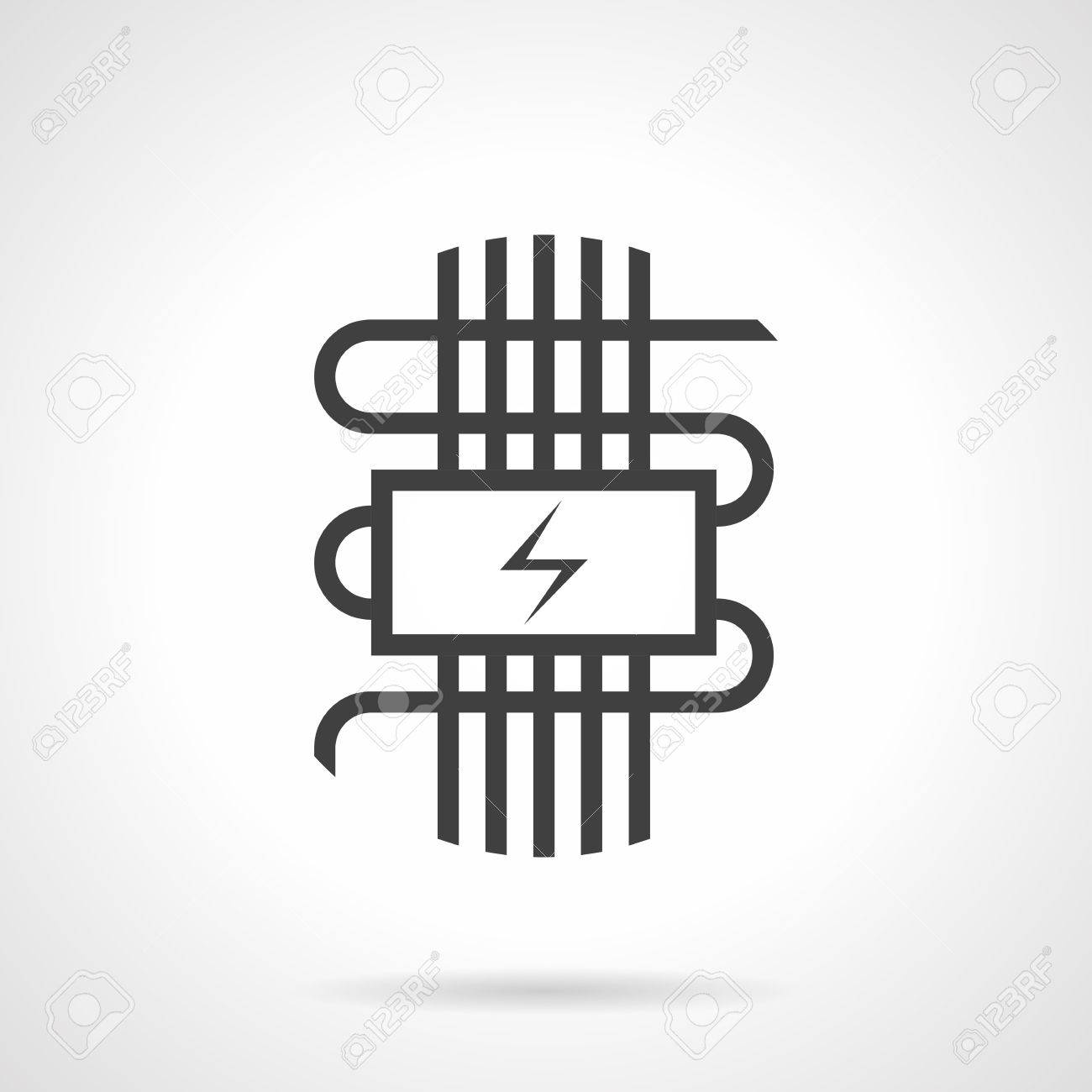 Symbol Of Electric Warm Floor - Panel With Power Sign And Wires ...