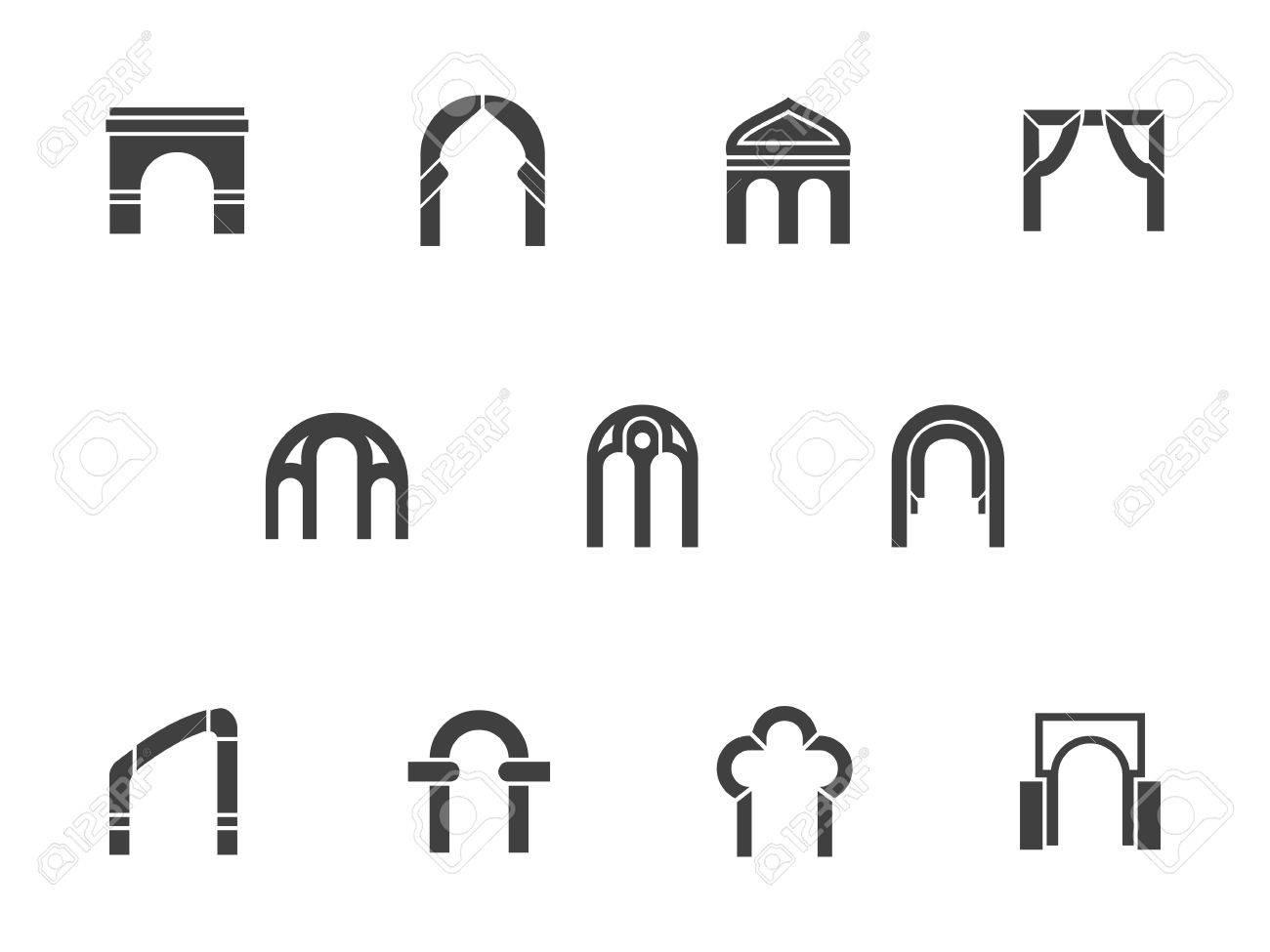 Silueta De Formas Y Tipos De Arcos Comunes. Los Elementos ...