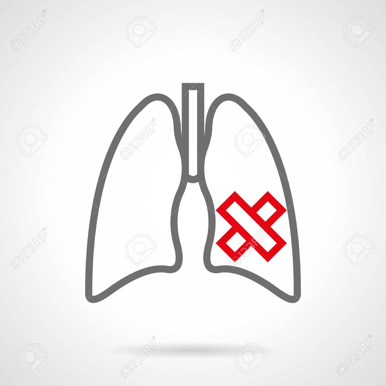 Symbol Der Kranken Menschlichen Lunge. Rauchen Schaden Für Die ...