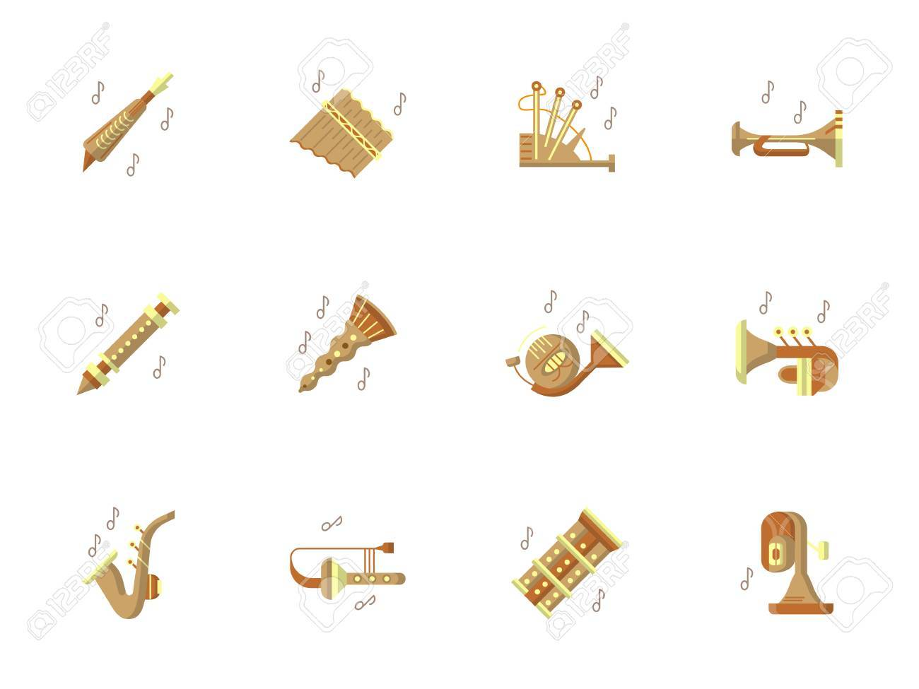 Tunes Of Brass And Woodwind Musical Instruments Classical Ethnic Music Jazz Pop