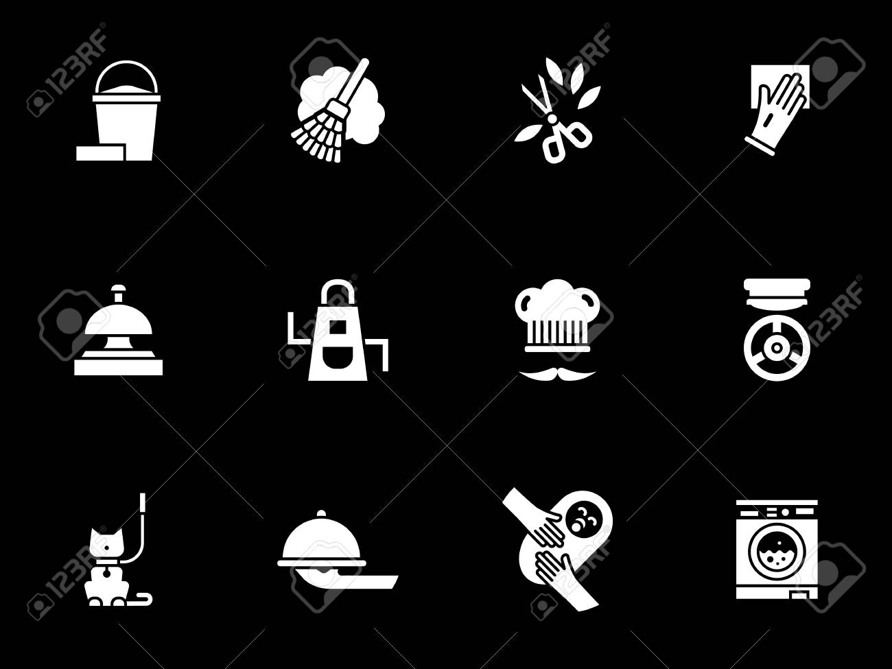 Abstract monochrome symbols for domestic services equipment for abstract monochrome symbols for domestic services equipment for home cleaning gardening washing and buycottarizona Image collections