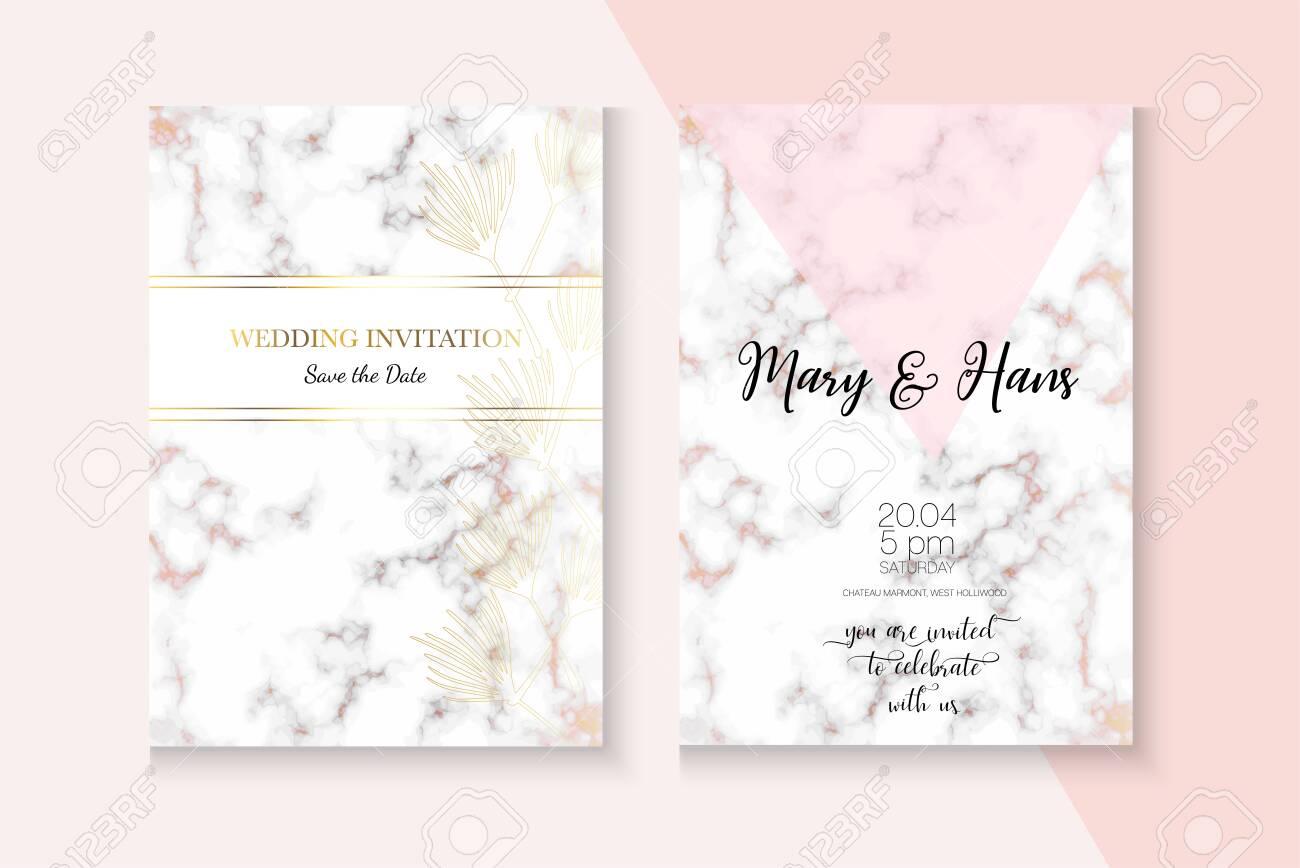 Elegant Marble Rose Gold Wedding Invitation Minimal Foil Cover