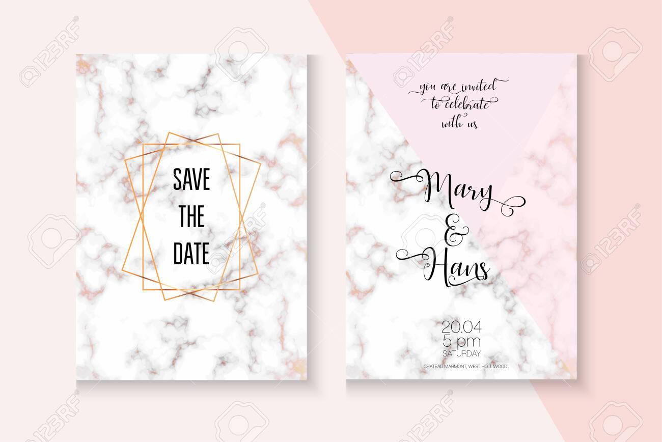 Elegant Marble Rose Gold Wedding Invitation Simple Foil Template