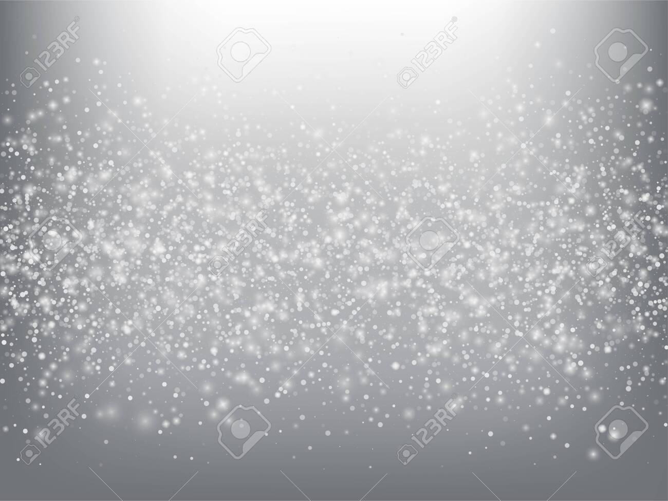 Falling Snow Confetti Winter Vector Background. Christmas, New Year Celebration Snowflakes Pattern. Realistic Flying Snow, Storm Sky Effect. Winter Ad Decoration. Falling Snow Winter Confetti On Gray - 141016375