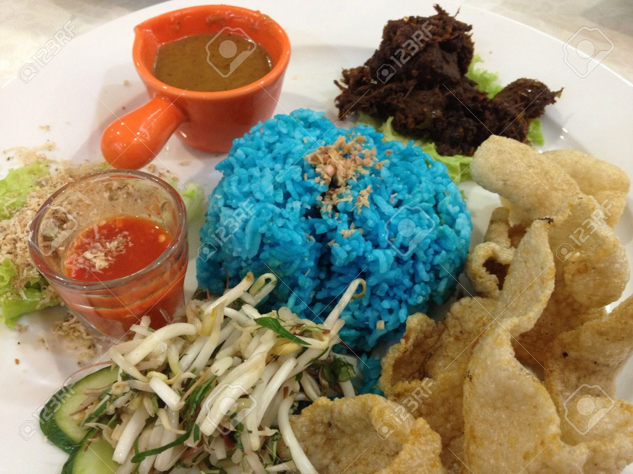 This Is A Traditional Malay Rice Dish Called Nasi Kerabu Usually Stock Photo Picture And Royalty Free Image Image 21033975