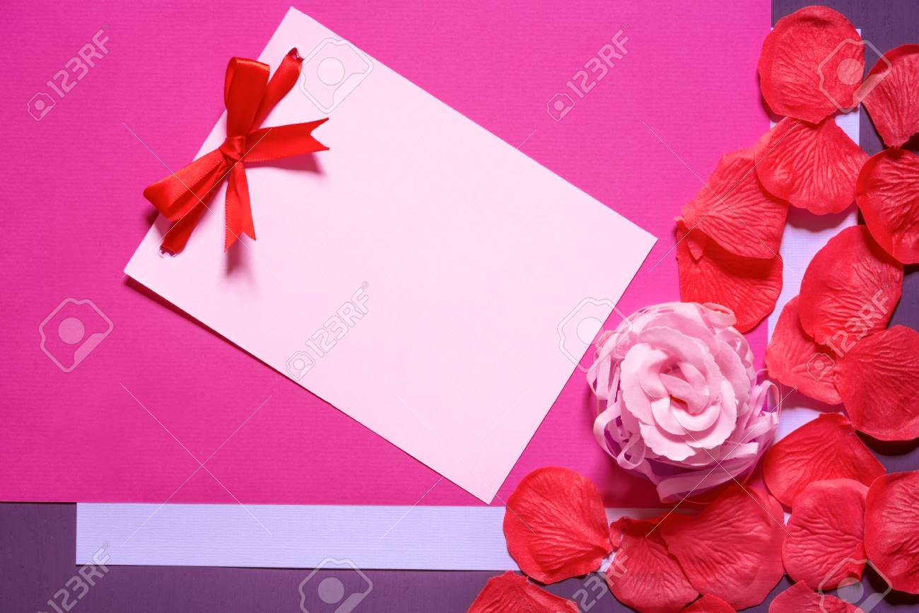Greeting card idea with a pink paper note with a red bow surrounded greeting card idea with a pink paper note with a red bow surrounded by a m4hsunfo