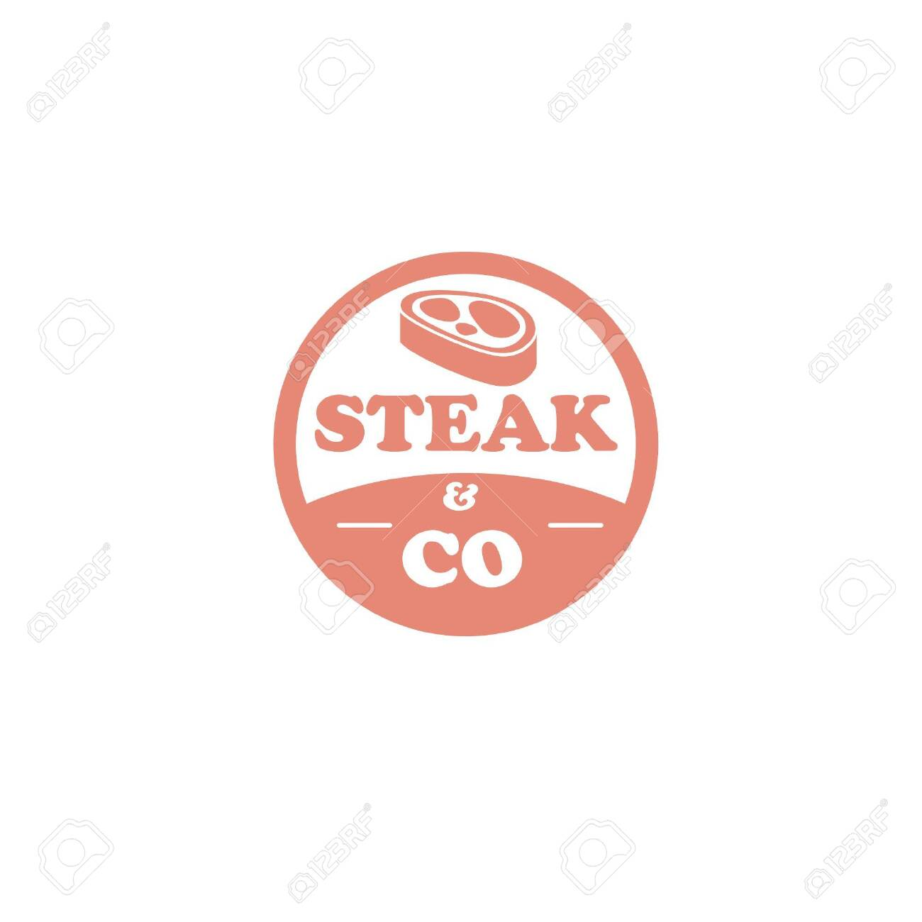Stamp Shape Restaurant Logo With Meat And Simple Typography Isolated On White Background Good For Retro Restaurant Identity And Logo Or Promotional Purpose Ilustraciones Vectoriales Clip Art Vectorizado Libre De Derechos Image