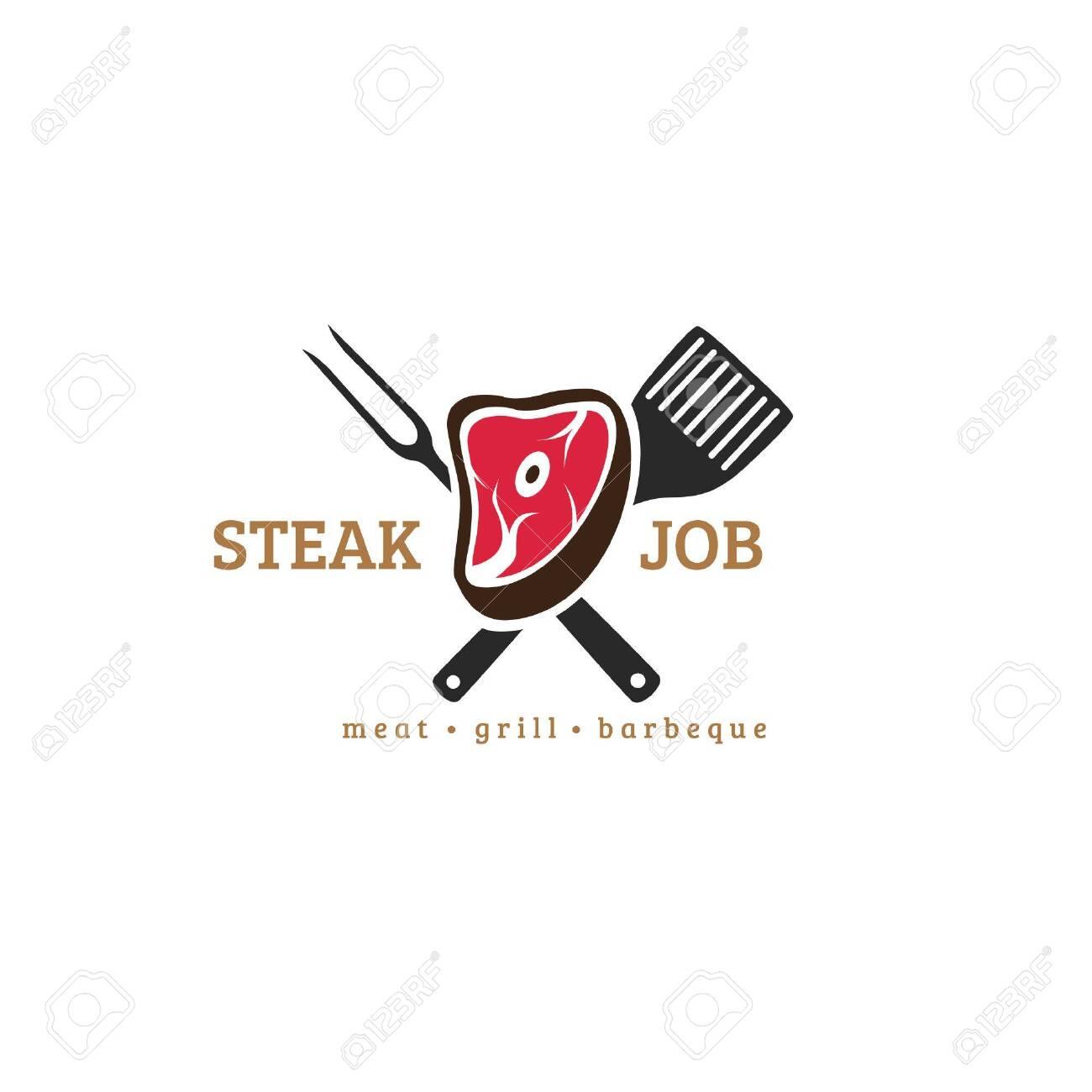 Steak Restaurant Logo With Meat Fork Spatula And Simple Typography Fit For Modern Restaurant Identity Or Logo Ilustraciones Vectoriales Clip Art Vectorizado Libre De Derechos Image 149759359