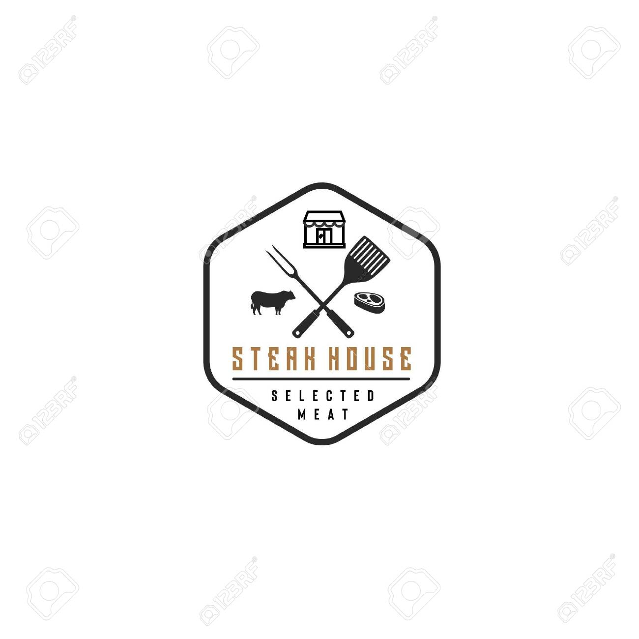 Restaurant Logo With Hexagon Frame Cow Meat Shop Fork And Royalty Free Cliparts Vectors And Stock Illustration Image 149758871