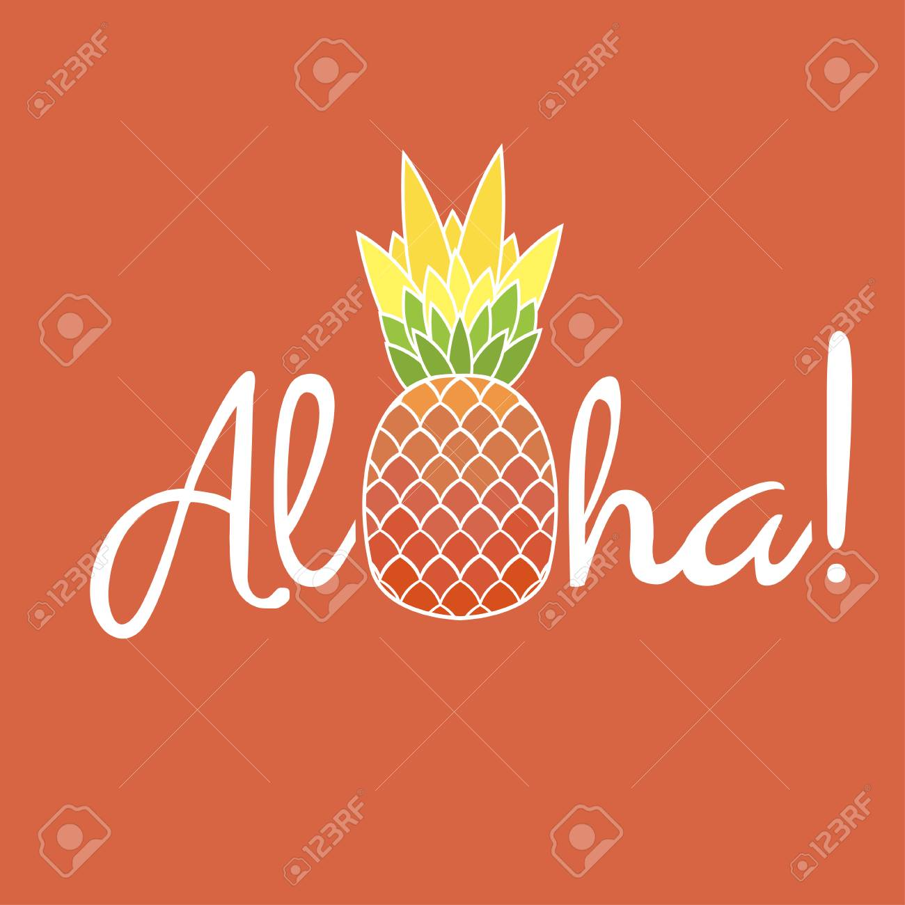 Pineapple with leaf and lettering Aloha. Exotic fruit from tropical America. Typography, t-shirt graphics, poster, banner, textile, apparel, greeting card. Vector - 78796166