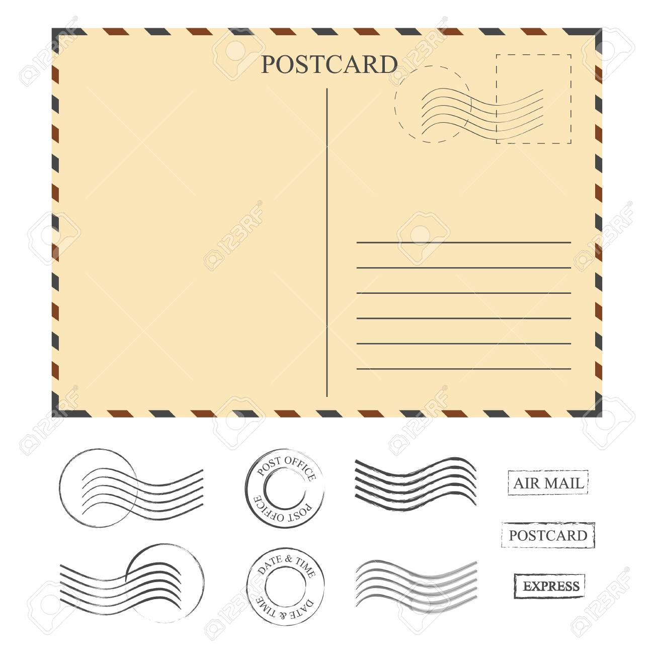 Vintage Postcard With Stamps Template Set Of Stamps Vector