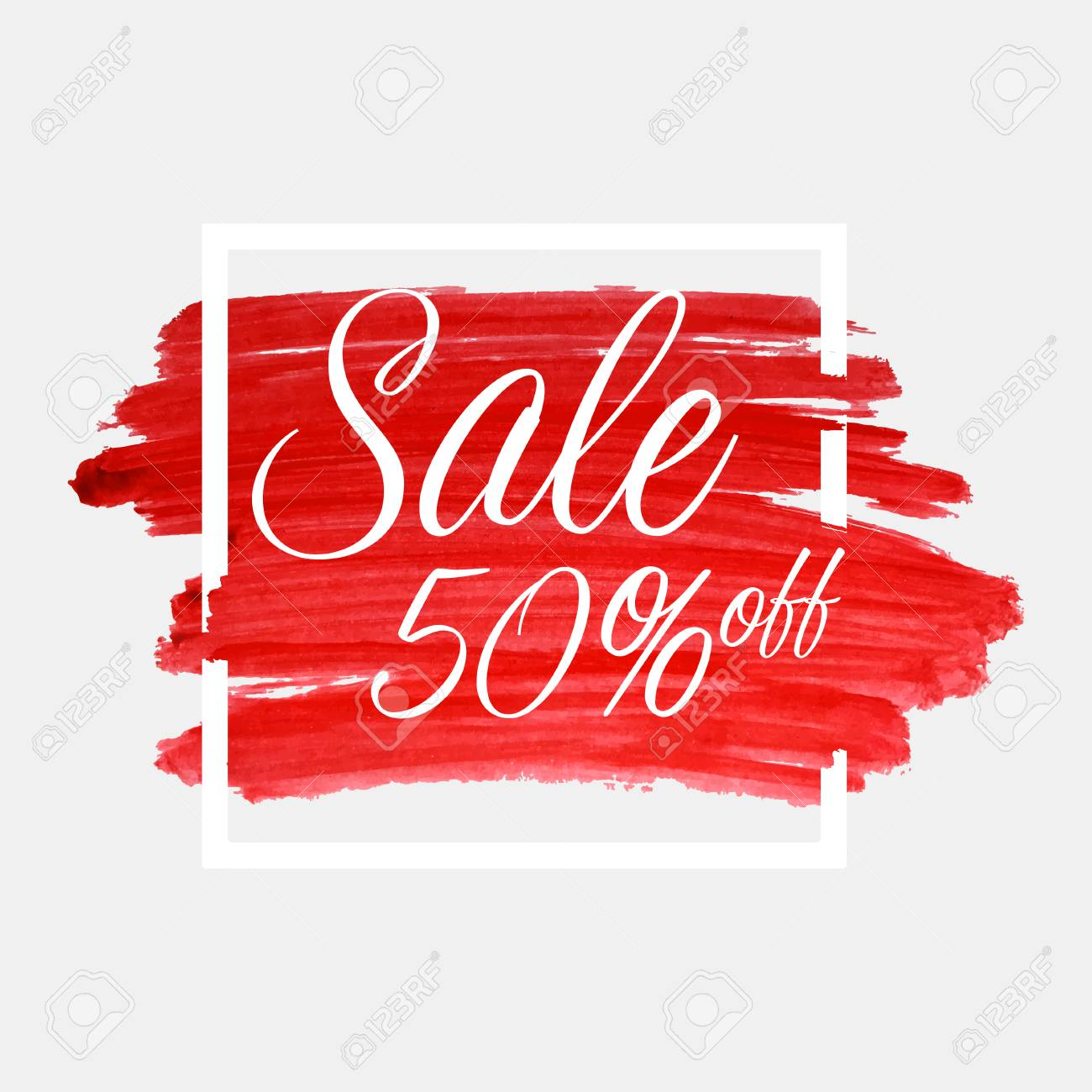 Sale, 50 percent off lettering on watercolor stroke with white frame. Red grunge abstract background brush paint texture. Vector - 78796427