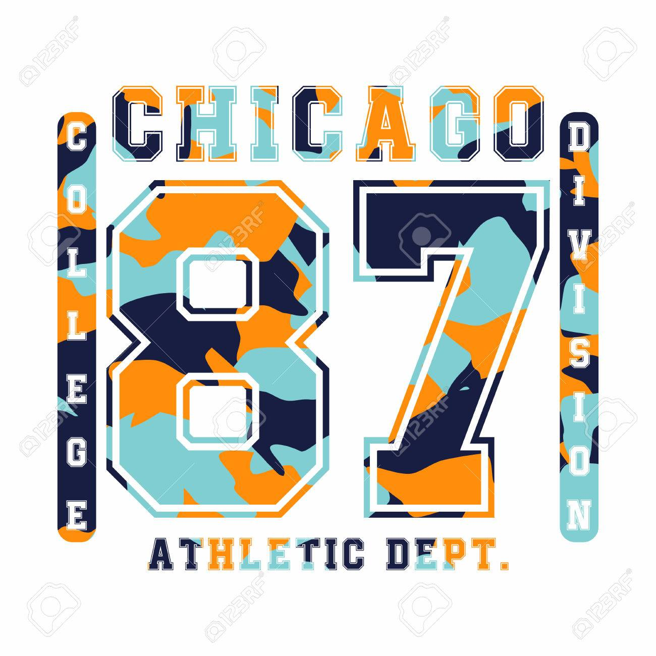 57fb8dba Chicago, athletic department. Camouflage t-shirt design, typography for  t-shirt
