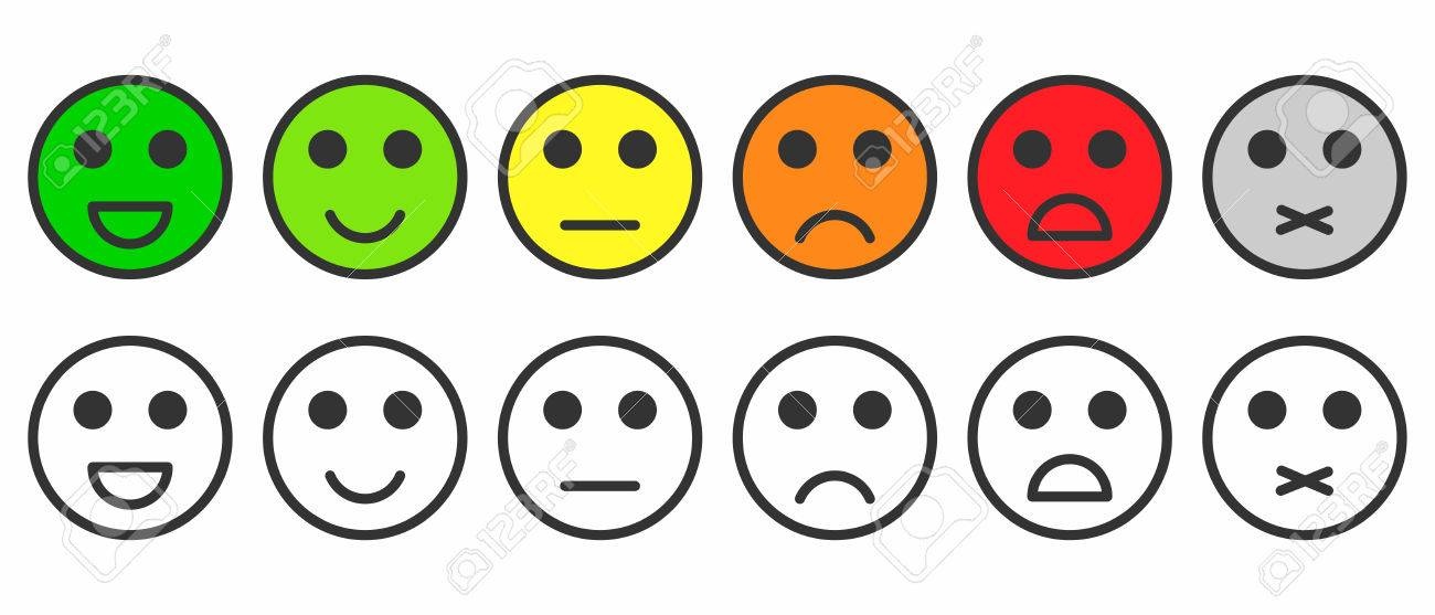 Rating satisfaction. Feedback in form of monochrome and colorful emotions, smileys, emojis. Excellent, good, normal, bad, awful, silent. Vector - 78911014