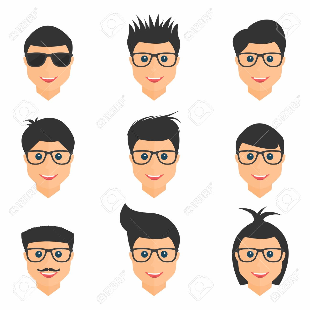 Hairstyles Set. Mens Hairstyles In Different Form. Collection Of  Fashionable Stylish Types. Vector
