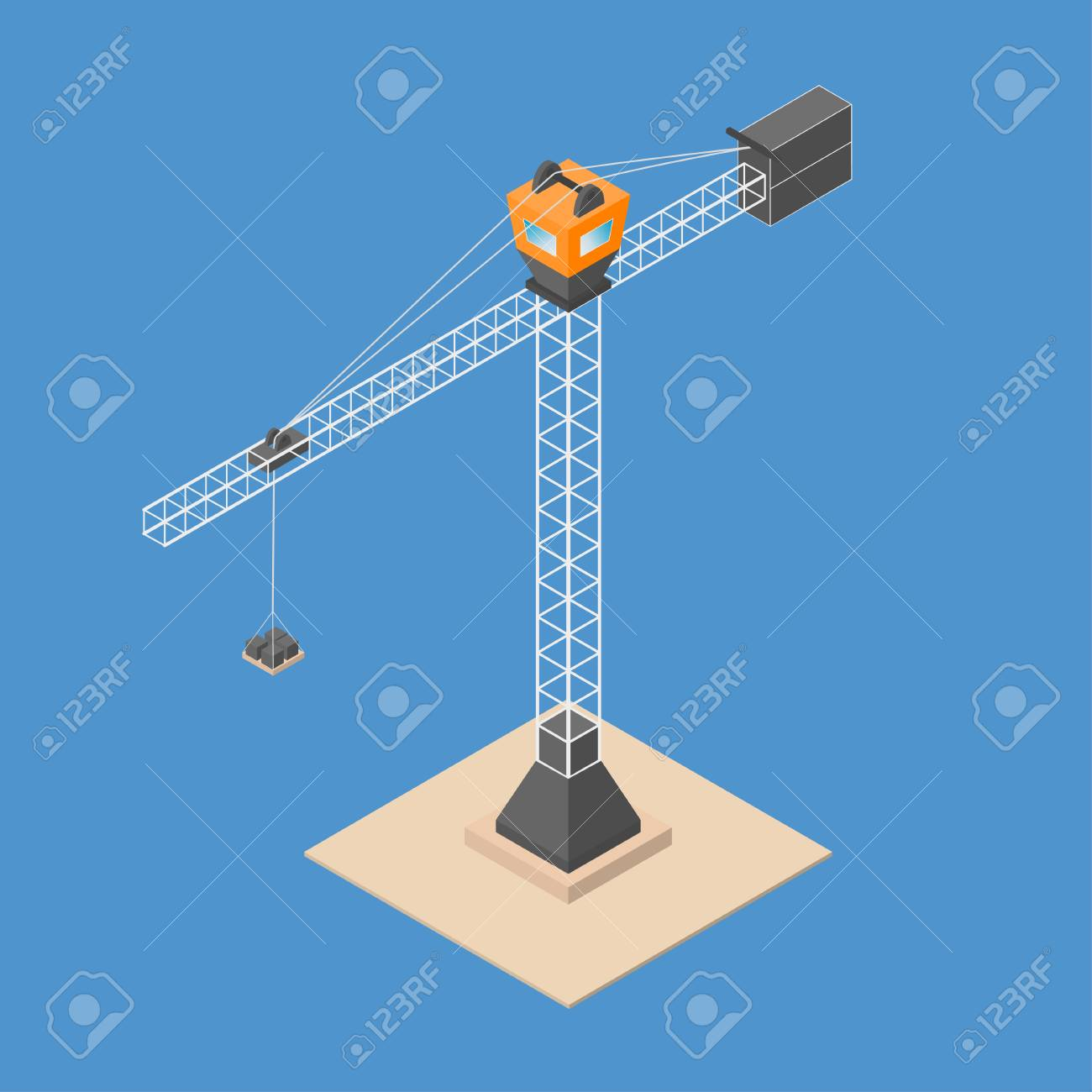 Industrial construction crane. Isometric crane with bricks, standing on sand. Vector - 79509054