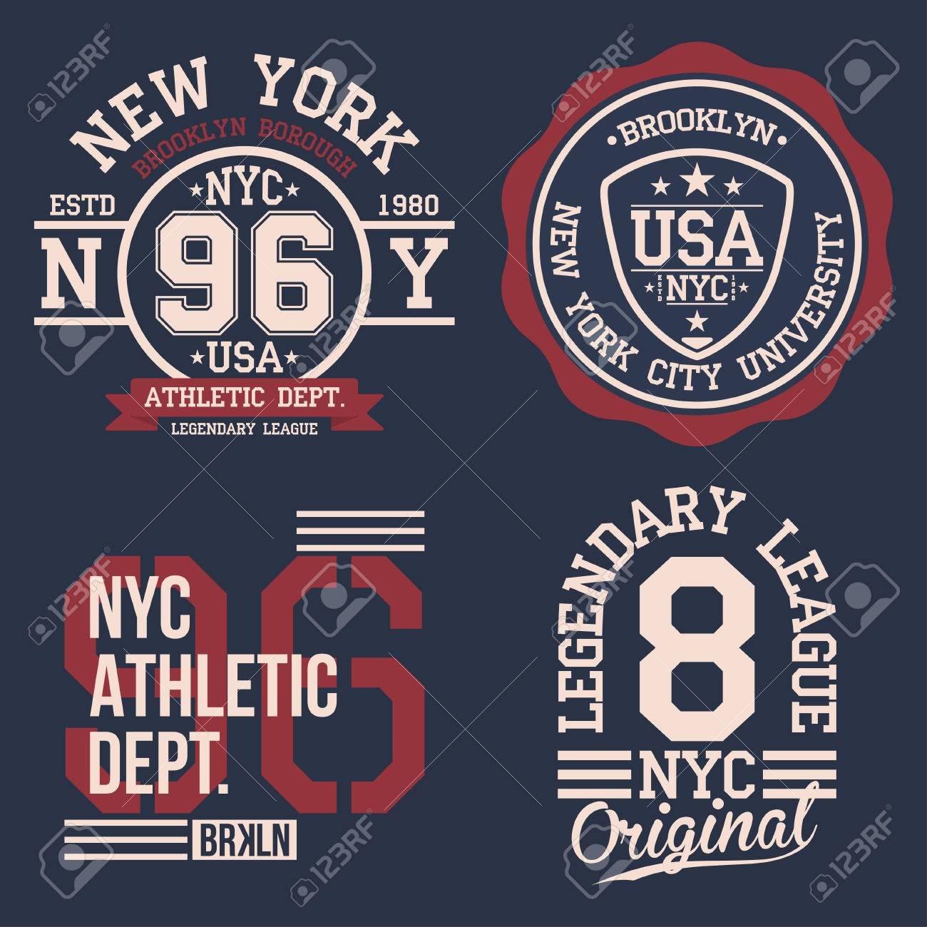 Vintage labels set, athletic sport typography for t shirt print. Varsity style. T-shirt graphic. Vector - 80338322