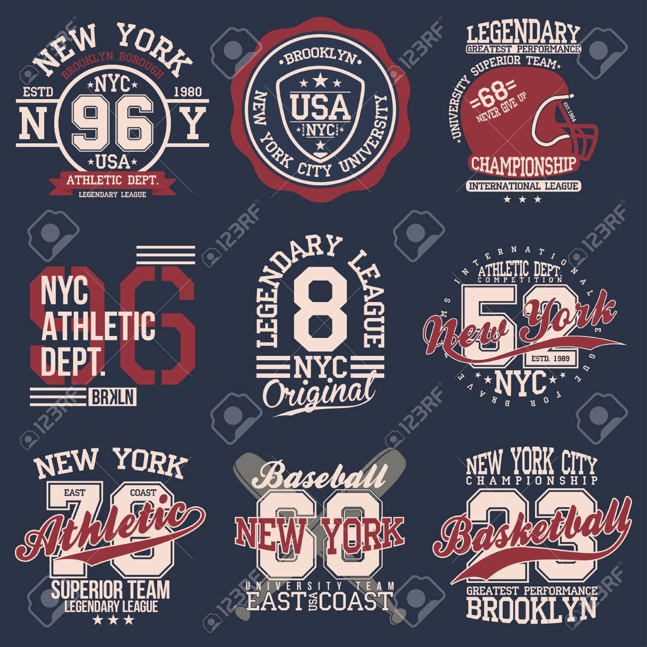 Vintage labels set, athletic sport typography for t shirt print Varsity style T-shirt graphic Vector - 80907749