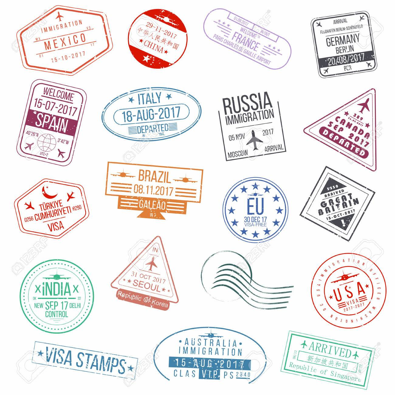 set of visa passport stamps international arrivals sign rubber rh 123rf com passport stamp vector image singapore passport stamp vector