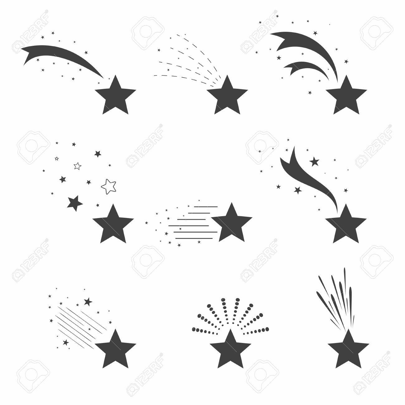 Shooting, falling stars icons. Icons of meteorites and comets. Falling stars with different tails. Vector - 81003451