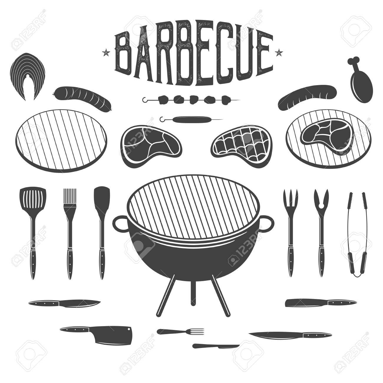 Un Barbecue éléments De Conception De Barbecue Et Grill équipement Viande Poulet Saucisse Kebab Icônes étiquettes Pour Steak House Ou Bar