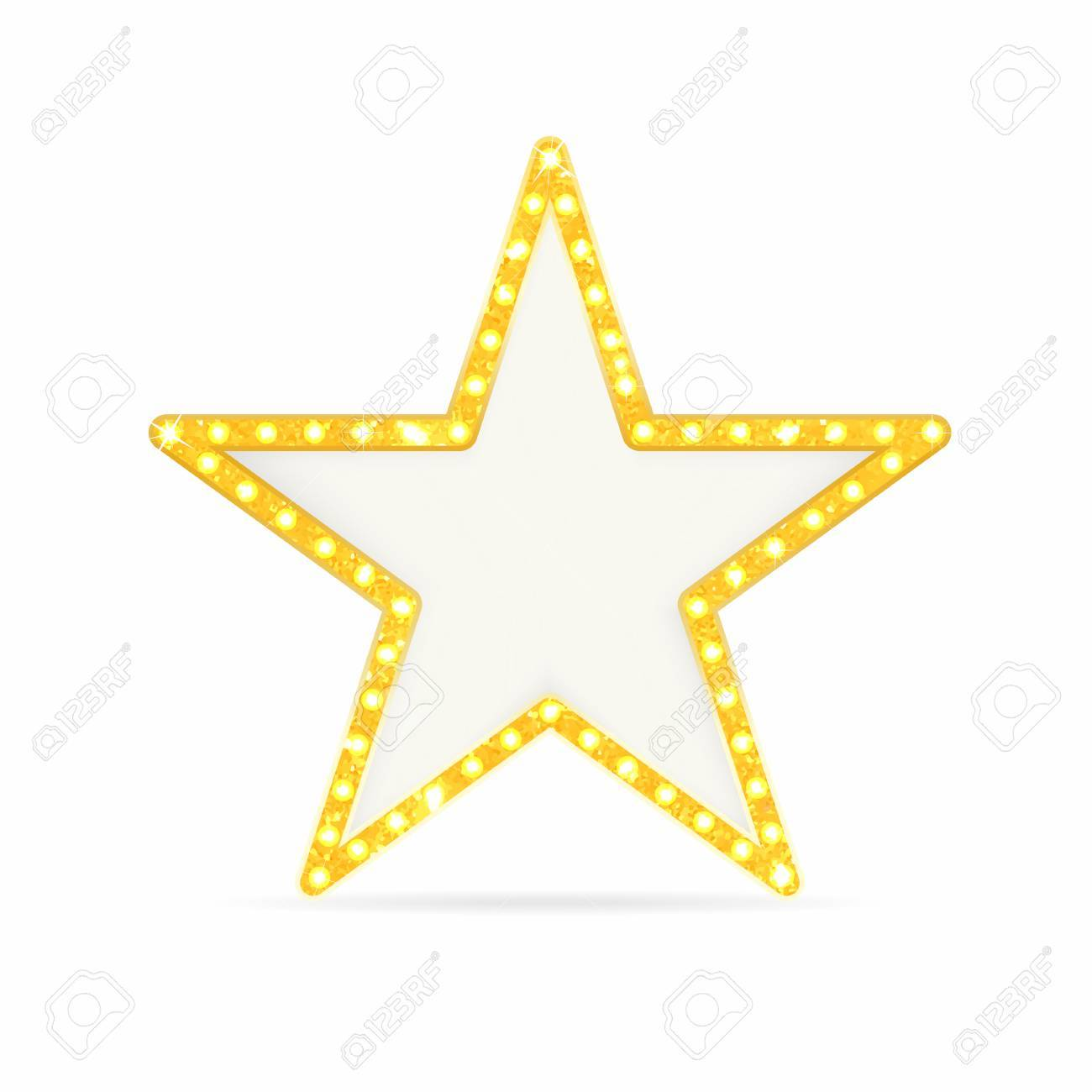 Retro gold star. Vintage frame with lights isolated on white background. Vector - 81570388