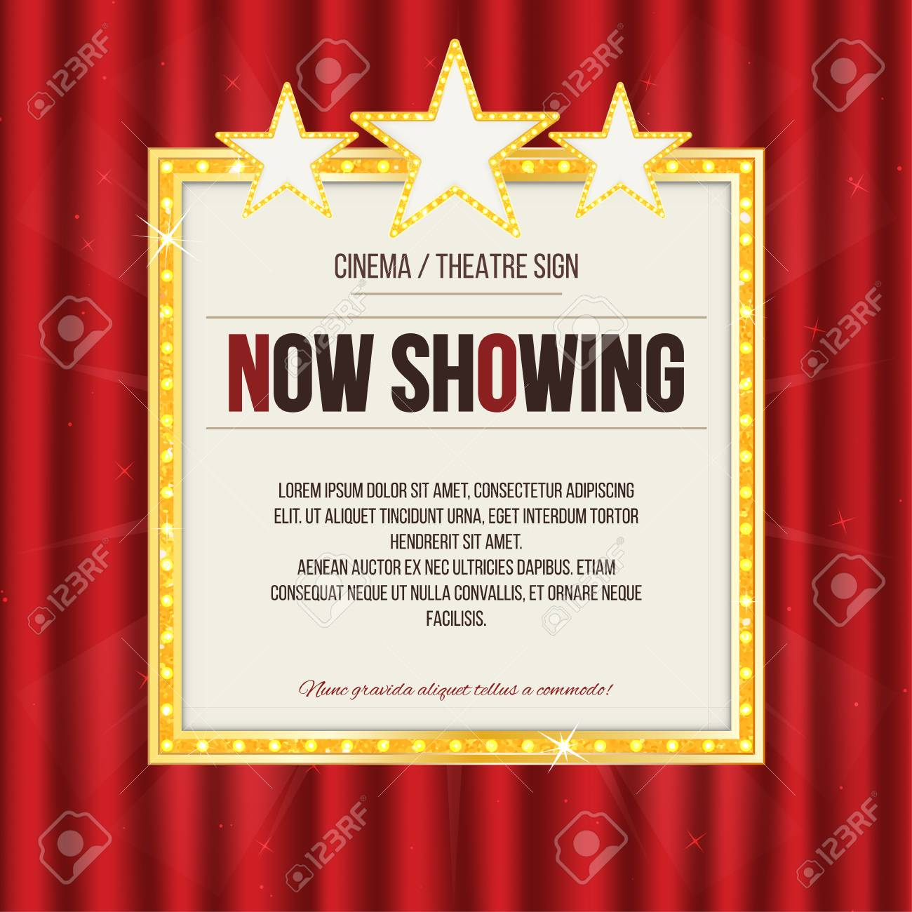 Theater sign or cinema sign with stars on red curtain. Gold retro signboard. Vector - 81570390