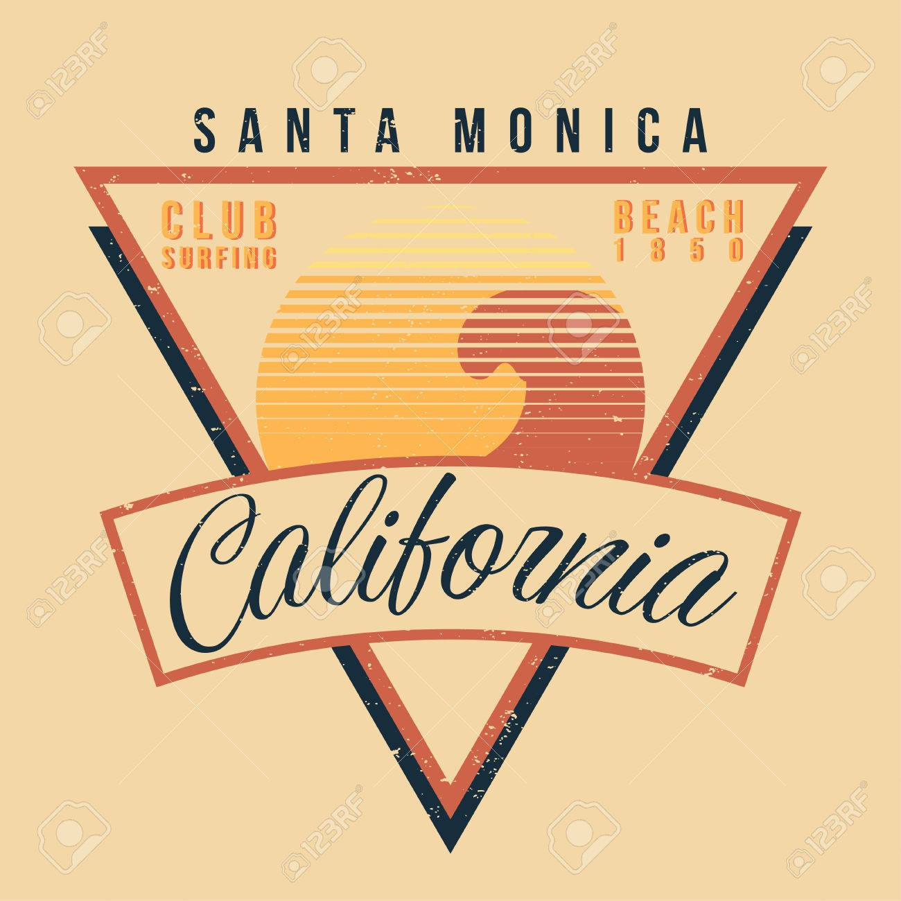 California Surf Sport Typography Vintage T Shirt Graphic 80s Style Vector Stock