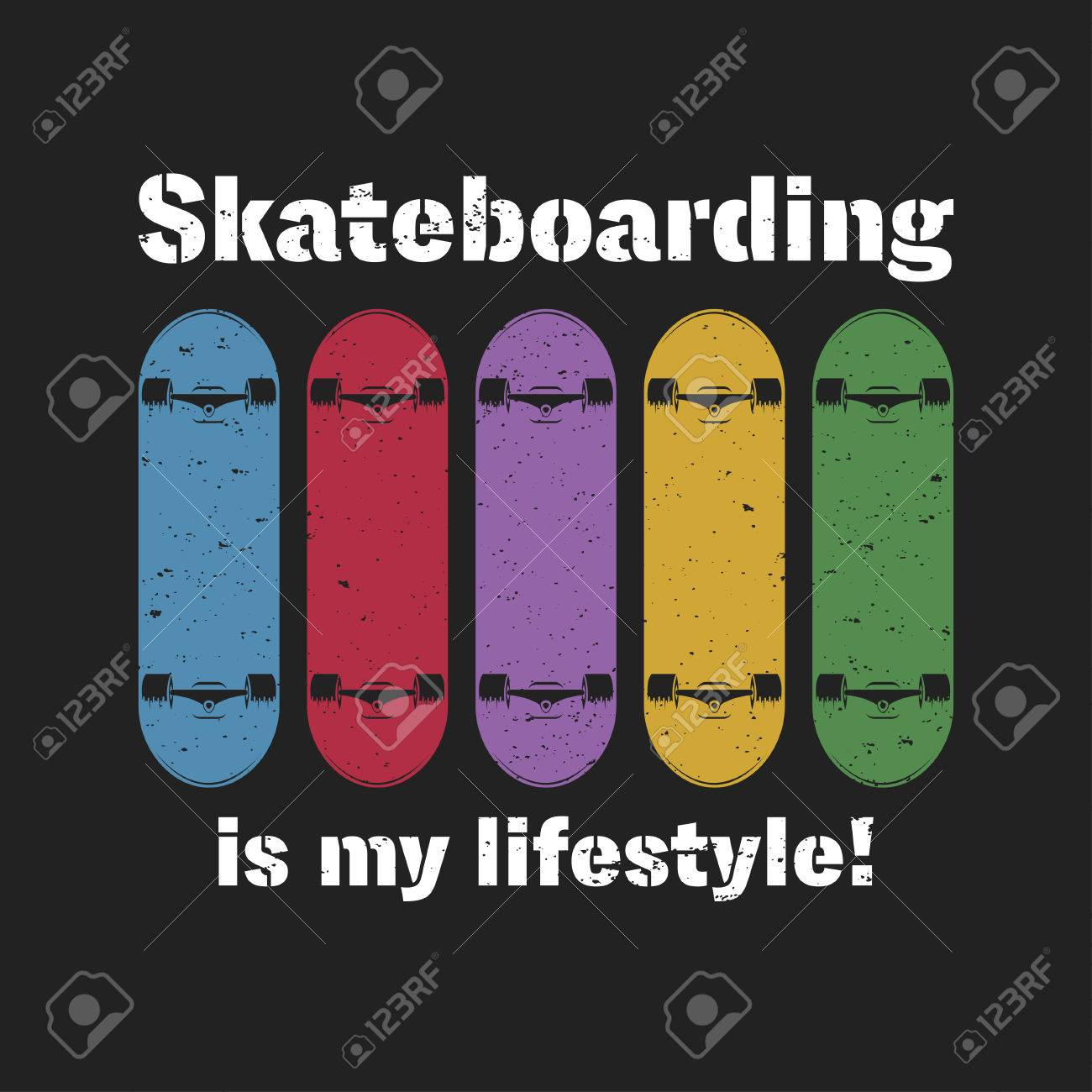 Skateboarding t shirt graphic. Urban skating. Vintage tee graphic with lettering. Vector - 81712343