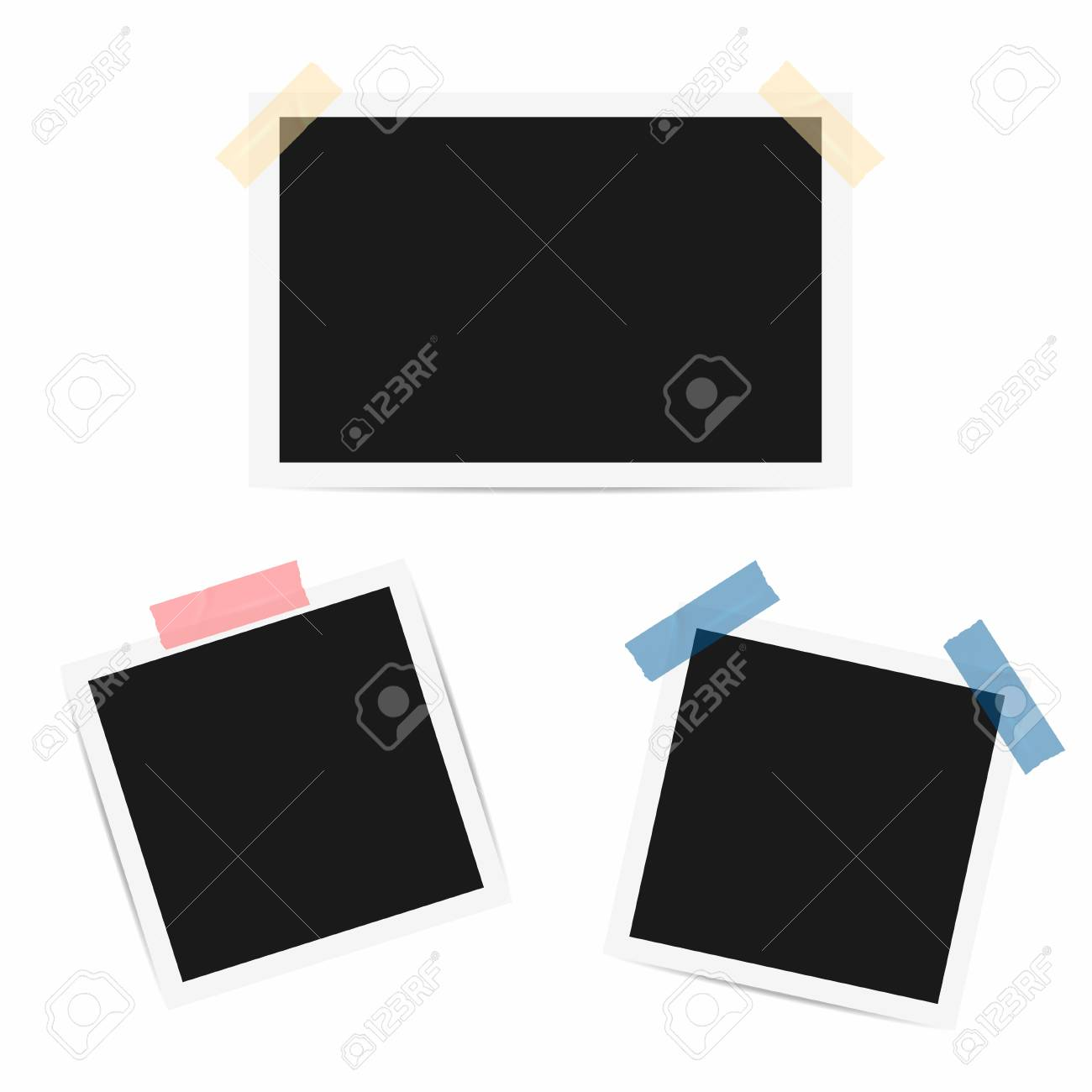 Blank Photo Frame. Retro Frames With Duct Tape. Vector Royalty Free ...