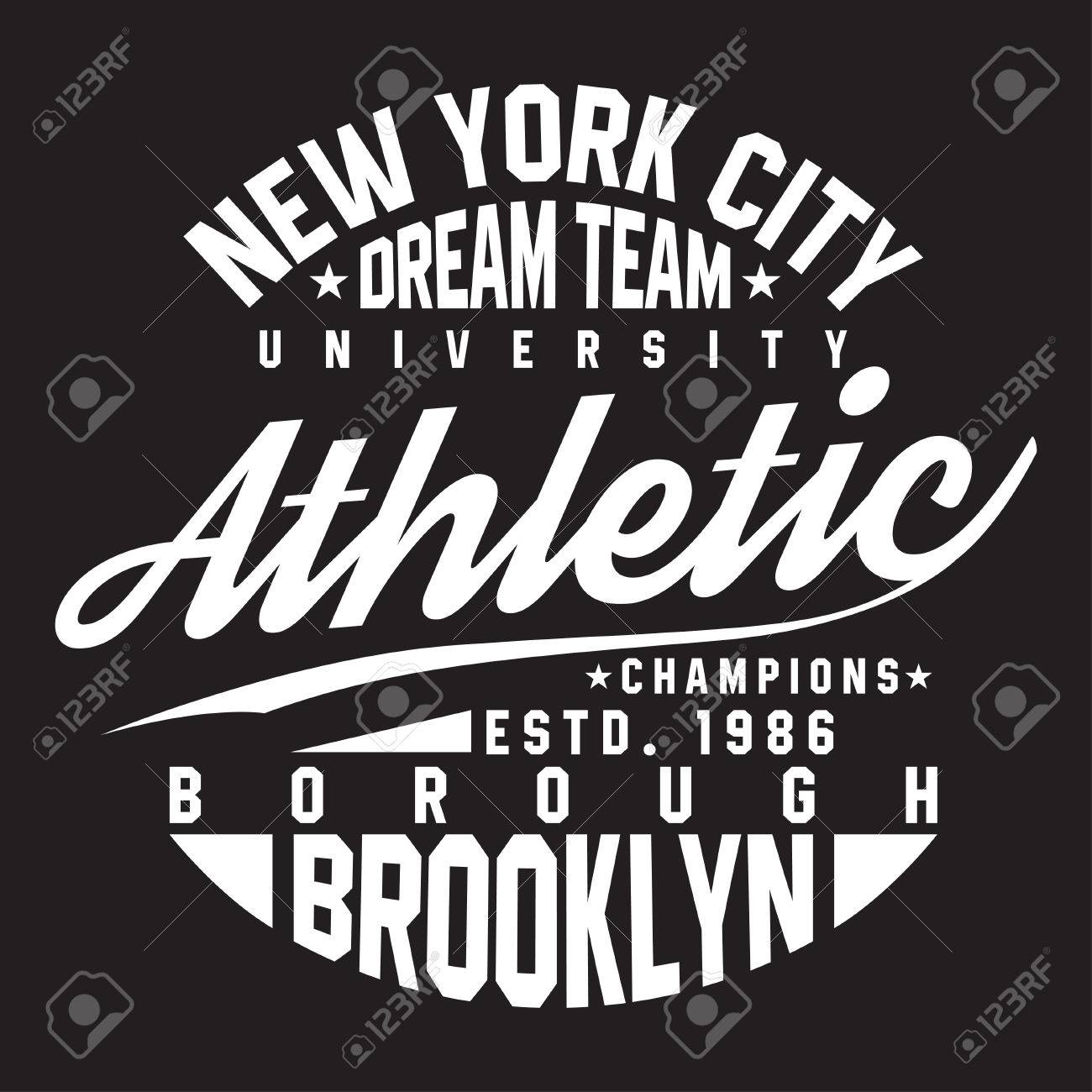 New York Brooklyn Typography For T Shirt Print Sports Athletic