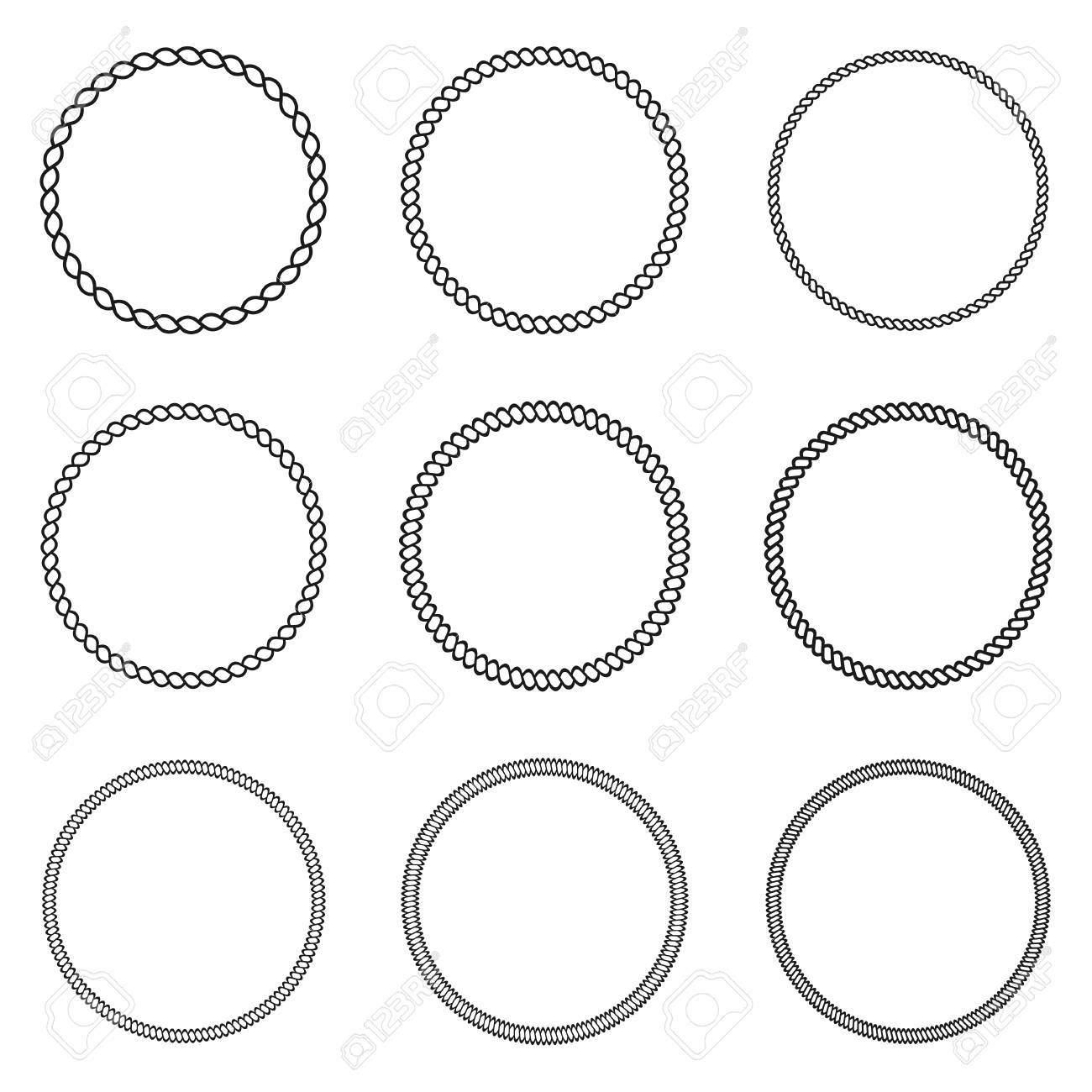 Rope Frame. Set Of Round Vector Frames From Nautical Rope. Round ...