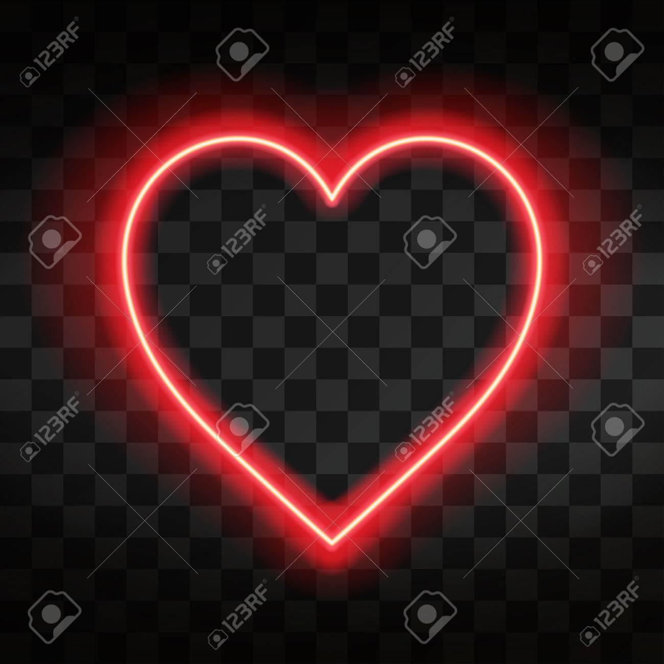 Bright neon heart. Heart sign on dark transparent background. Neon glow effect. Vector - 85859034