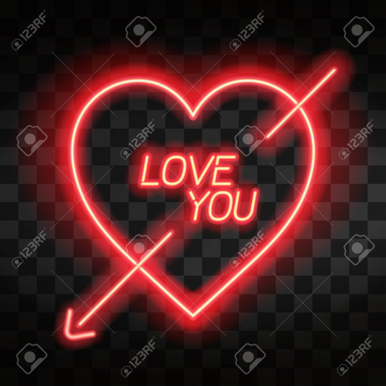 love you bright neon heart heart sign with cupid arrow on dark